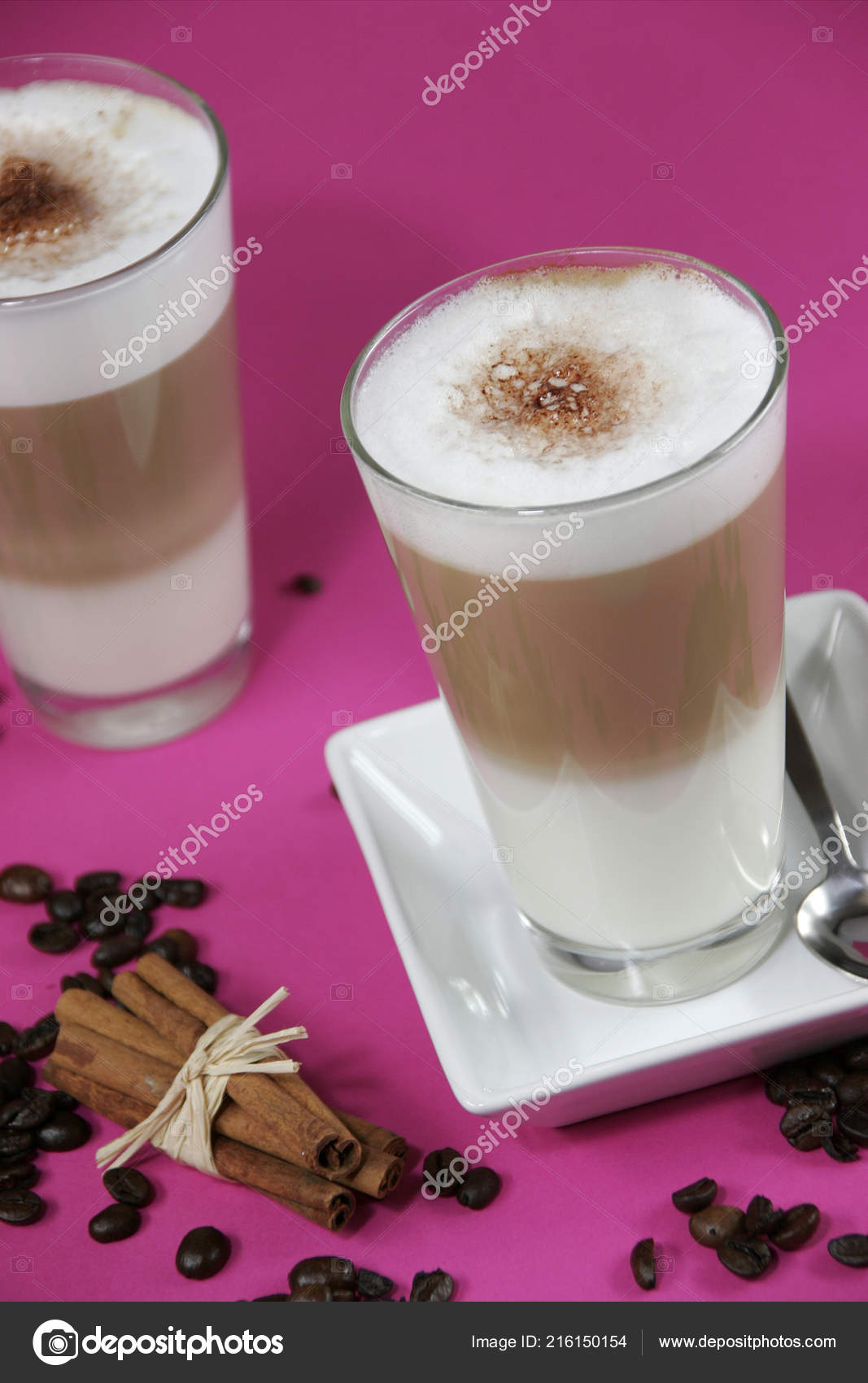 Caffe Latte Glasses Caffe Latte Coffee Beans Cinnamon Sticks Bright Pink
