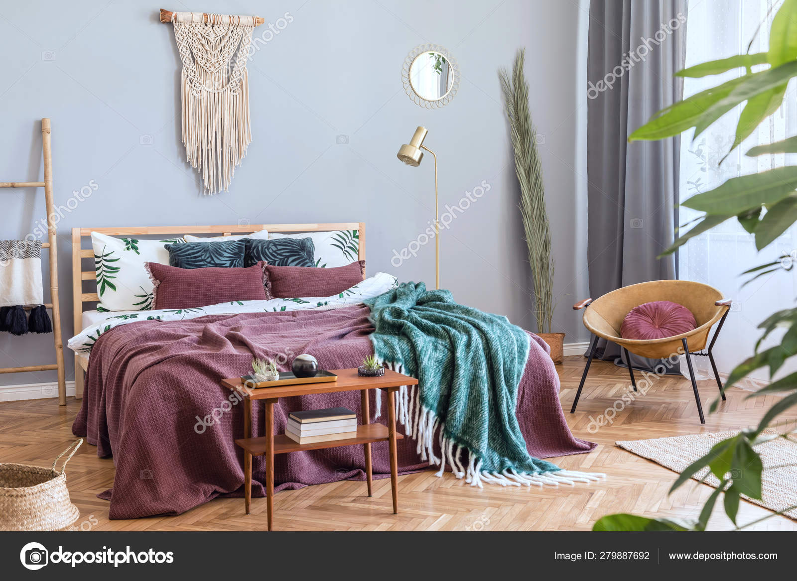 Stylish Luxury Interior Bedroom Design Furnitures Honey Yellow Armchair Gray Stock Photo Image By Followtheflow 279887692