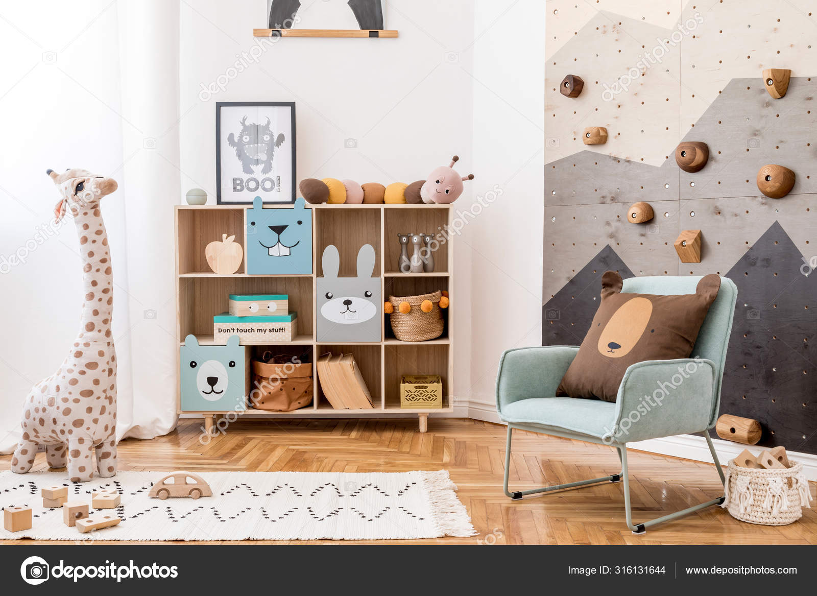 Scandinavian Interior Design Playroom Modern Climbing Wall Kids Design Furnitures Stock Photo Image By Followtheflow 316131644