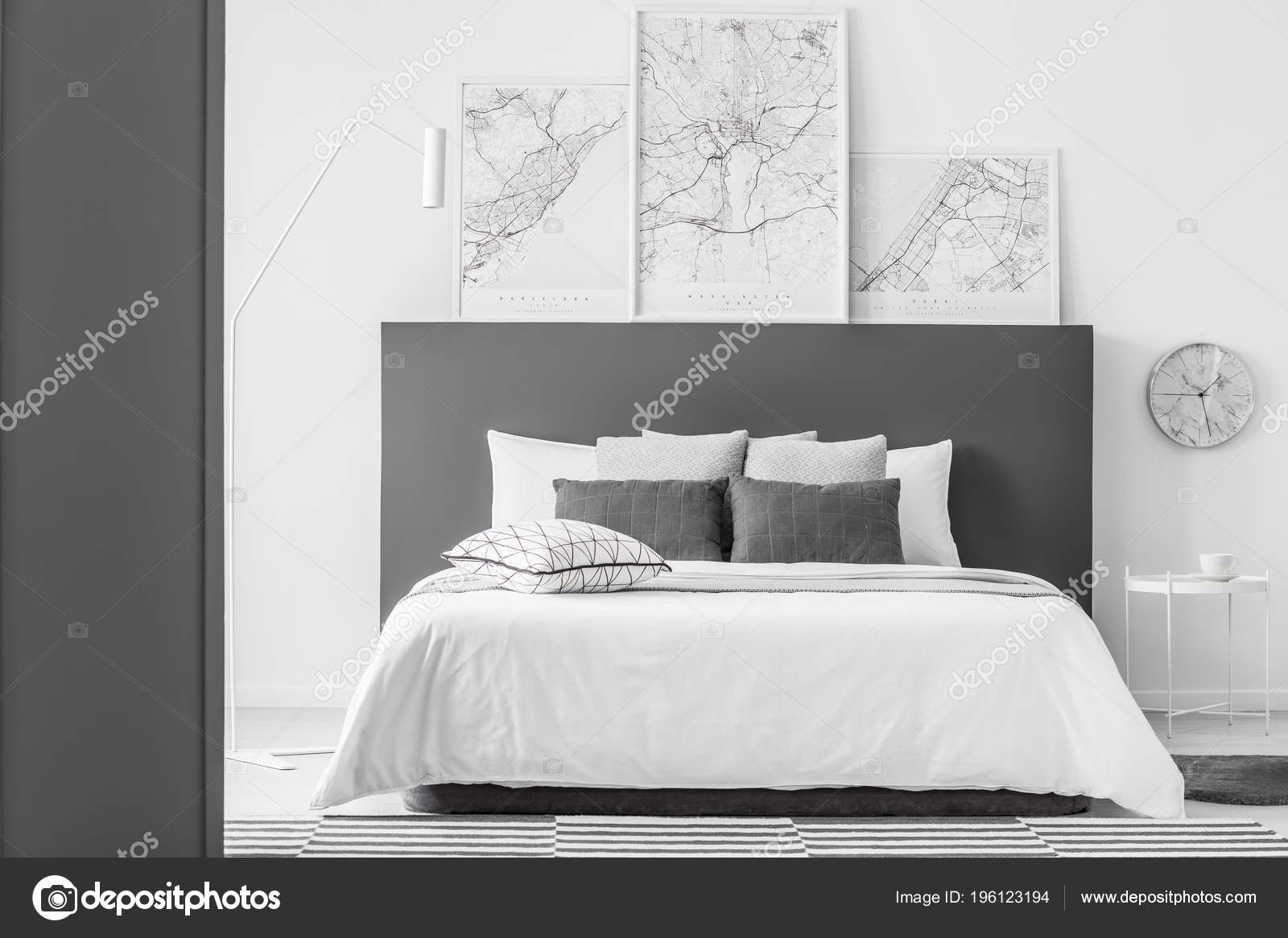 Simple Bed Maps Bed Grey Bedhead Pillows Simple Bedroom Interior Clock