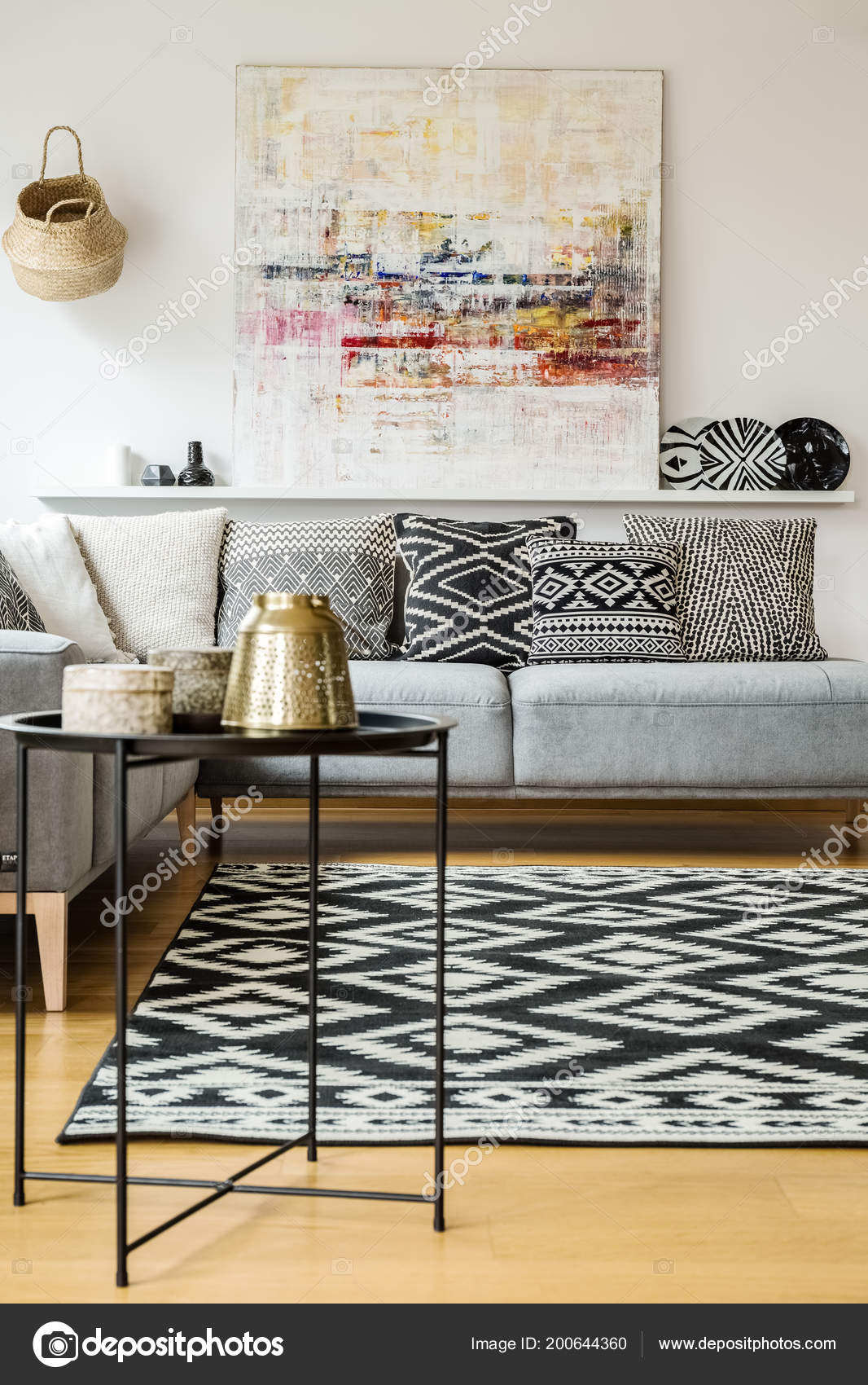 Patterned Carpet Patterned Carpet Cushions Grey Sofa Modern Living Room Interior