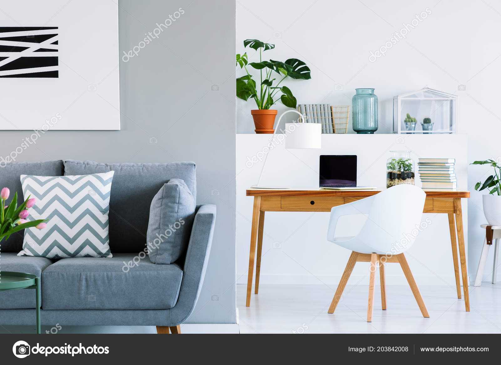 Sofa In Home Office Patterned Cushion Grey Sofa Scandinavian Home Office