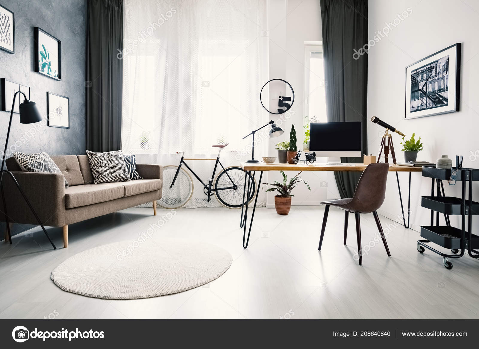 Sofa In Home Office Modern Home Office Interior Big Window Sofa Bike Desk
