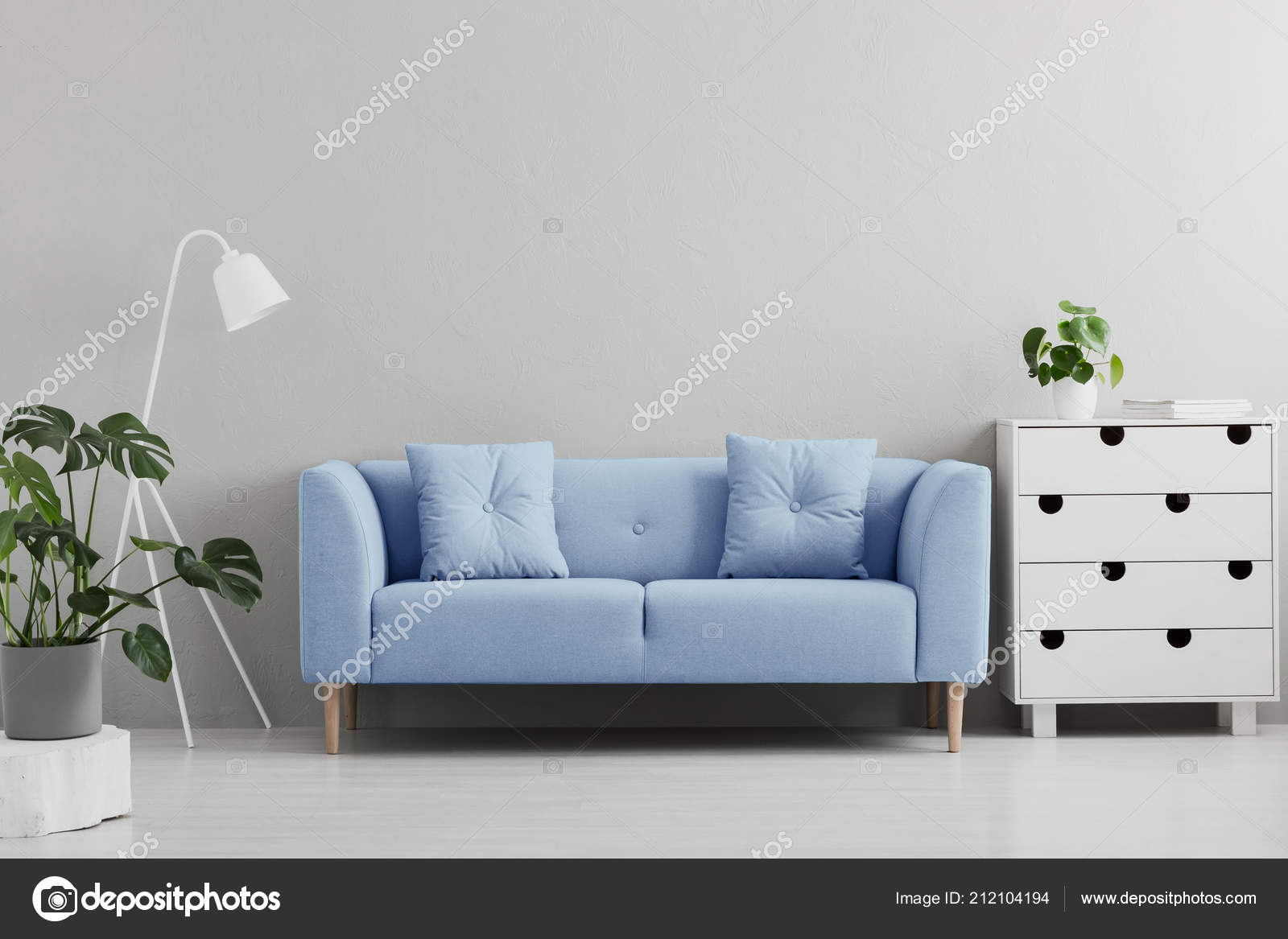 Grey White And Blue Living Room Blue Sofa White Lamp Cabinet Grey Living Room Interior Plants