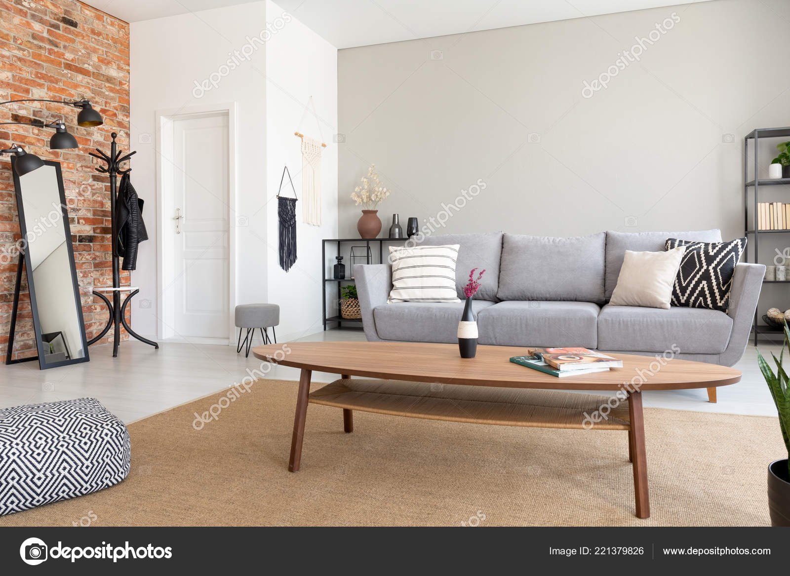 Living Room With Grey Sofa Wooden Table Middle Elegant Living Room Grey Sofa Metal Shelf