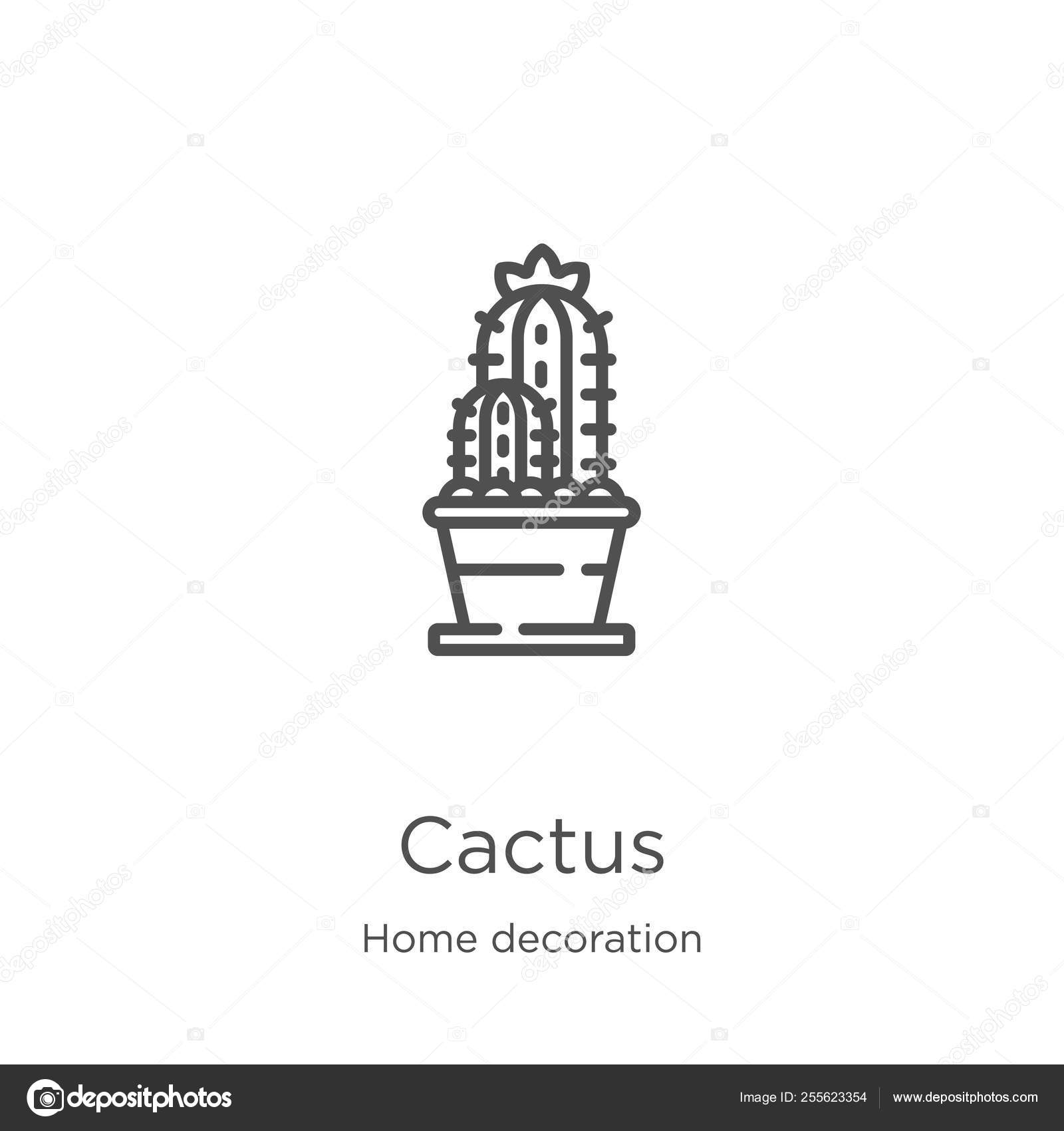 Home Decoration Collection Cactus Icon Vector From Home Decoration Collection Thin Line