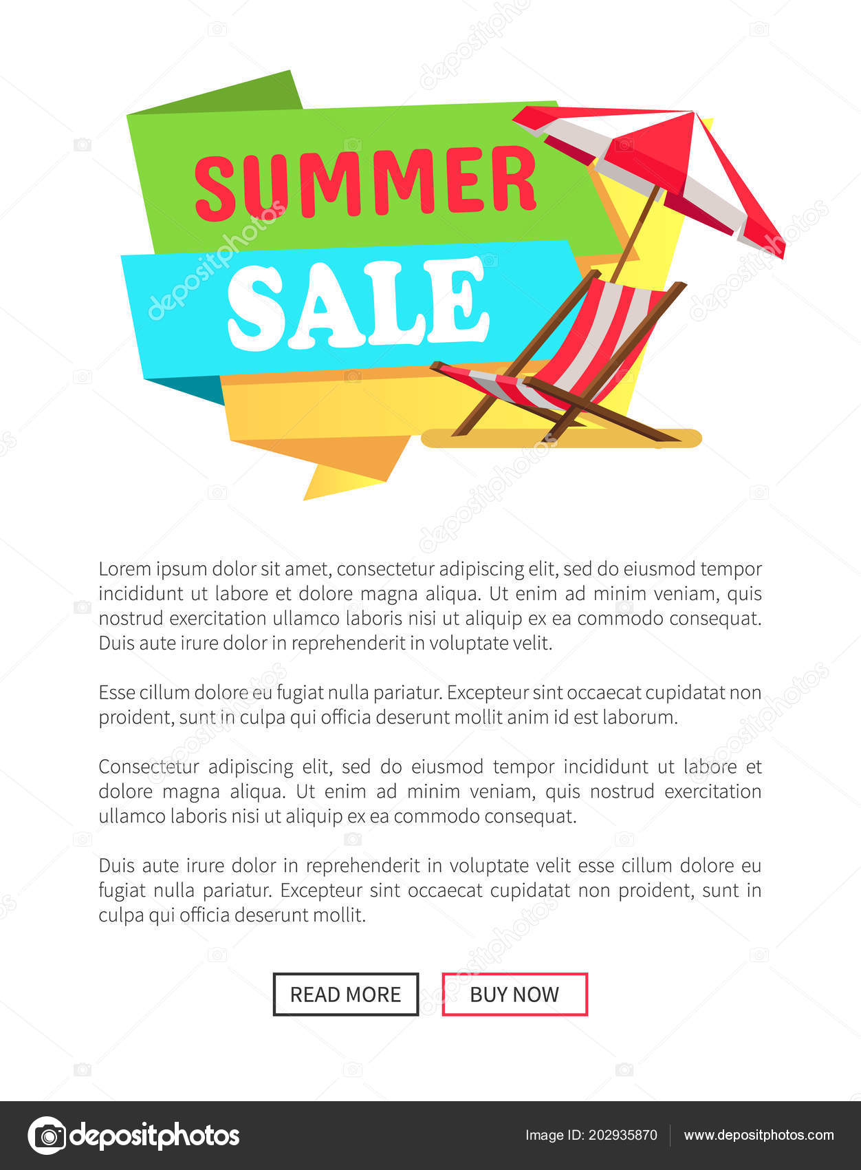 Promo Chaise Summer Sale Label Sunbed Chaise Lounge Umbrella Stock Vector