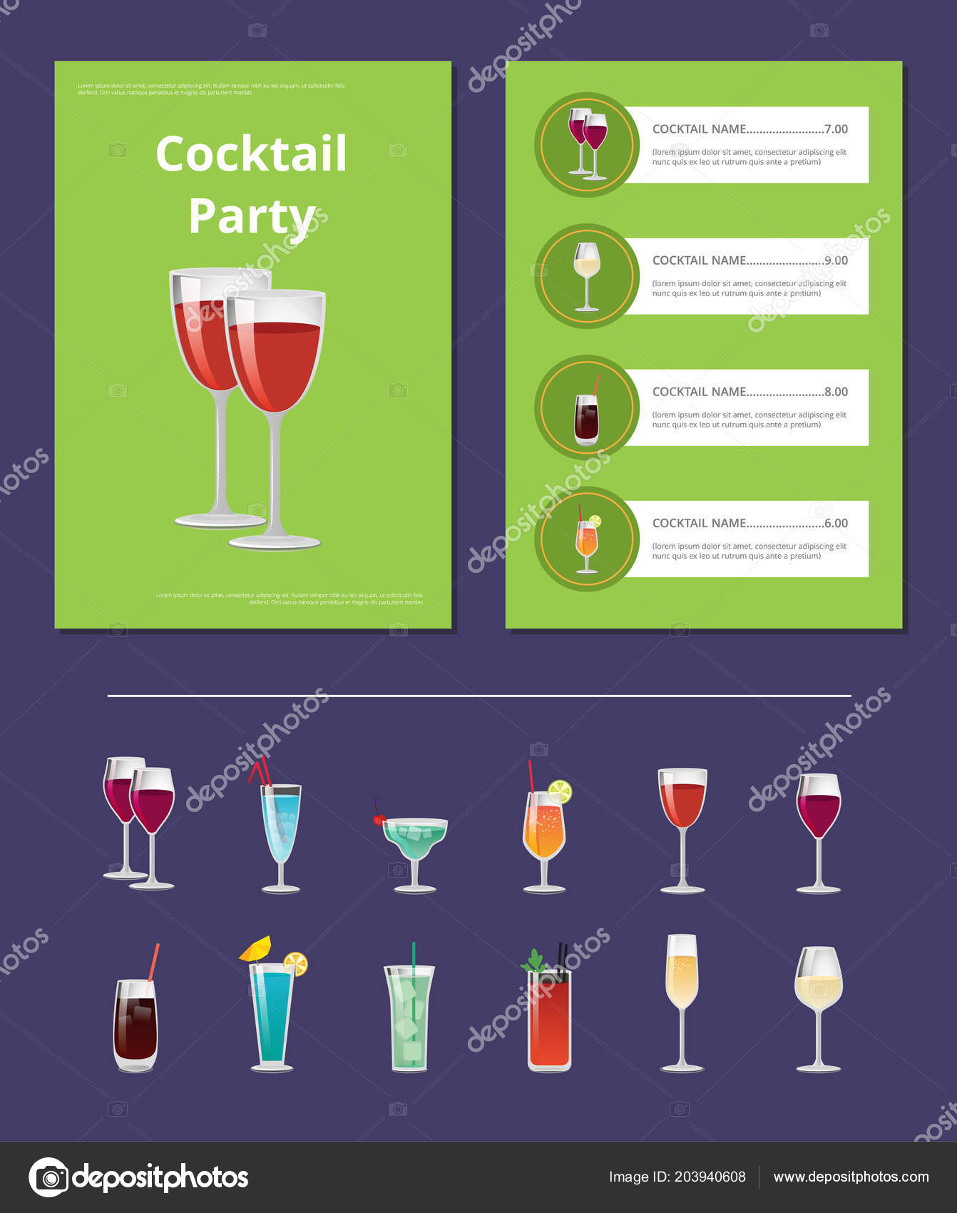 Cocktail Liste Menu De Fête Cocktail Liste Prix Cocktail Ingrédient Image
