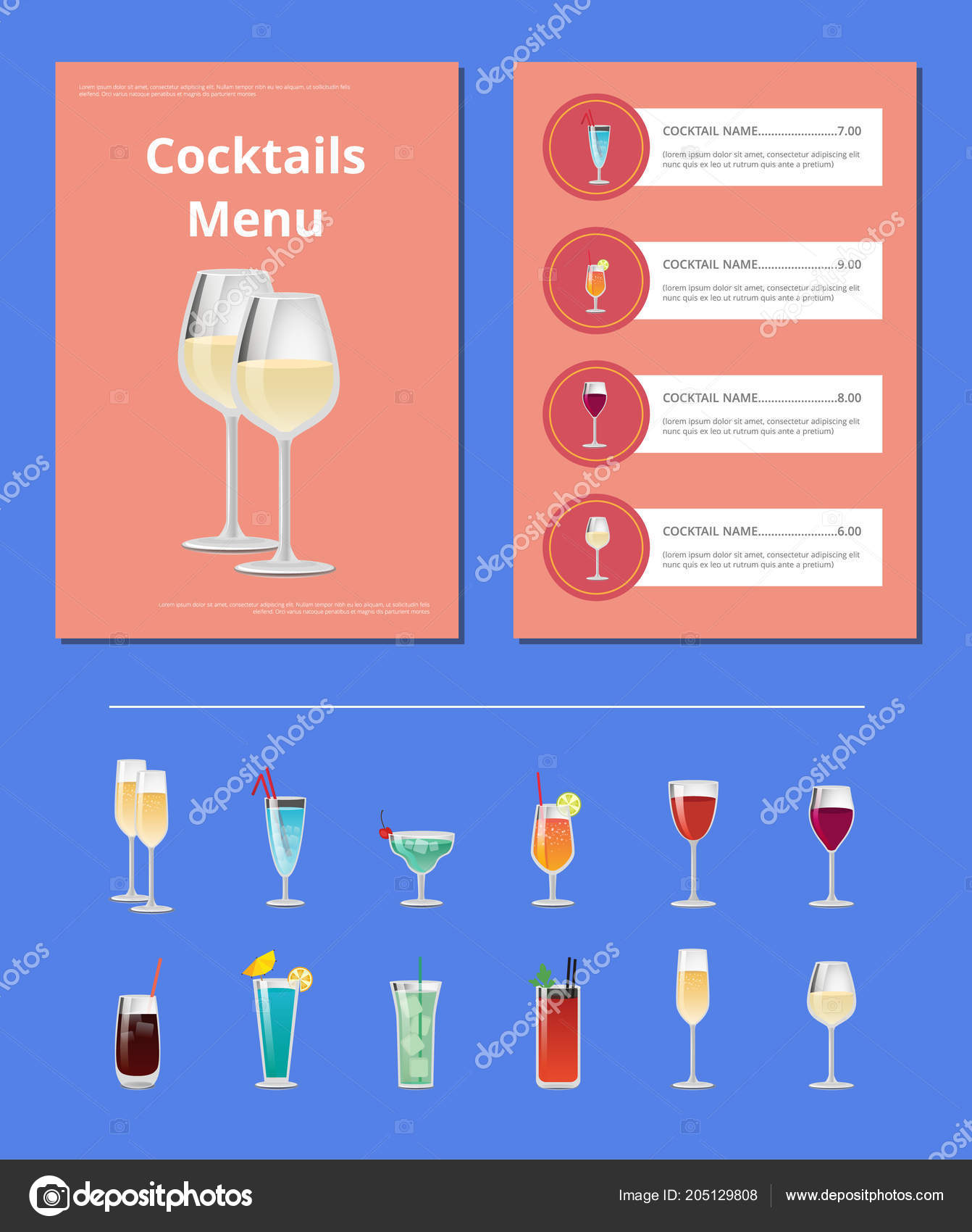 Cocktail Liste Cocktail Party Menü Liste Cocktail Preis Zutat Stockvektor