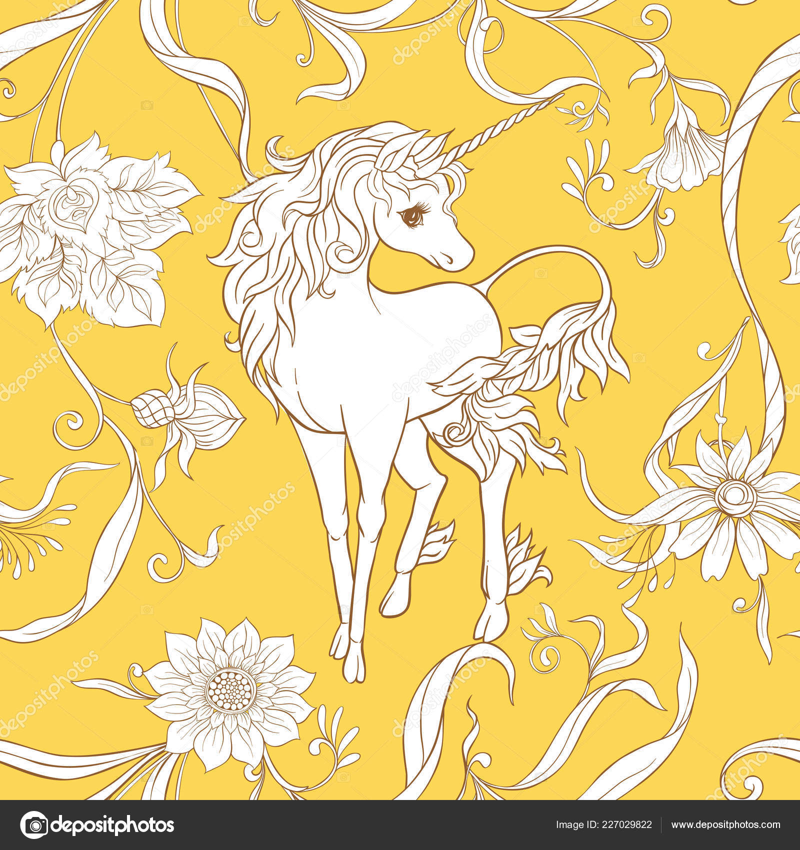 Art Nouveau Yellow Seamless Pattern Background Unicorn Vintage Fantsatic Flowers Art