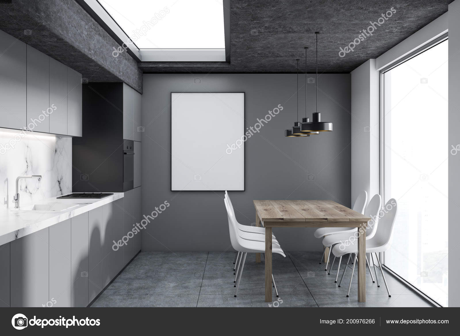 Concrete Wall Treatment Modern Kitchen Interior White Marble Gray Walls Concrete