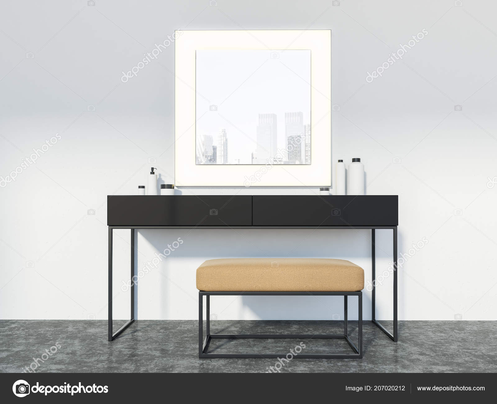 Table étroite Table Maquillage Avec Une Chaise Soft Étroite Grand Miroir Carré