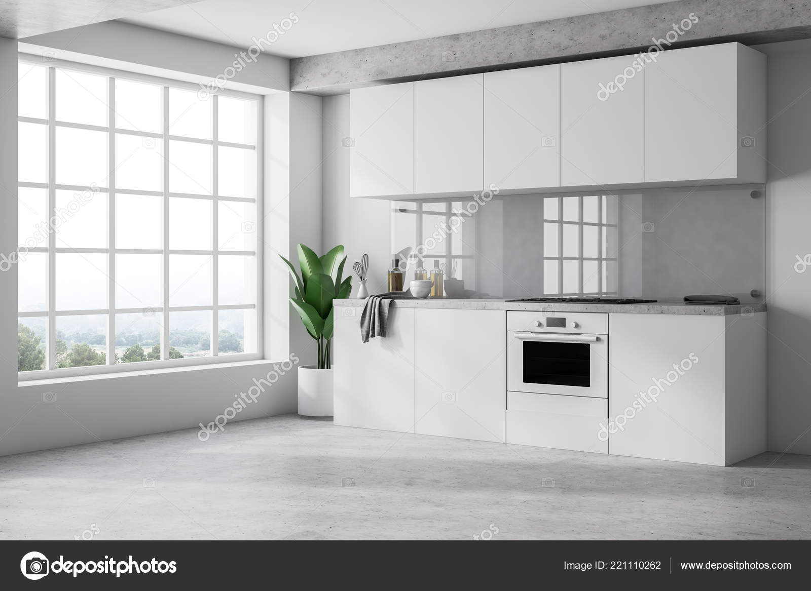 Concrete Wall Treatment Minimalistic Kitchen Interior White Walls Concrete Floor