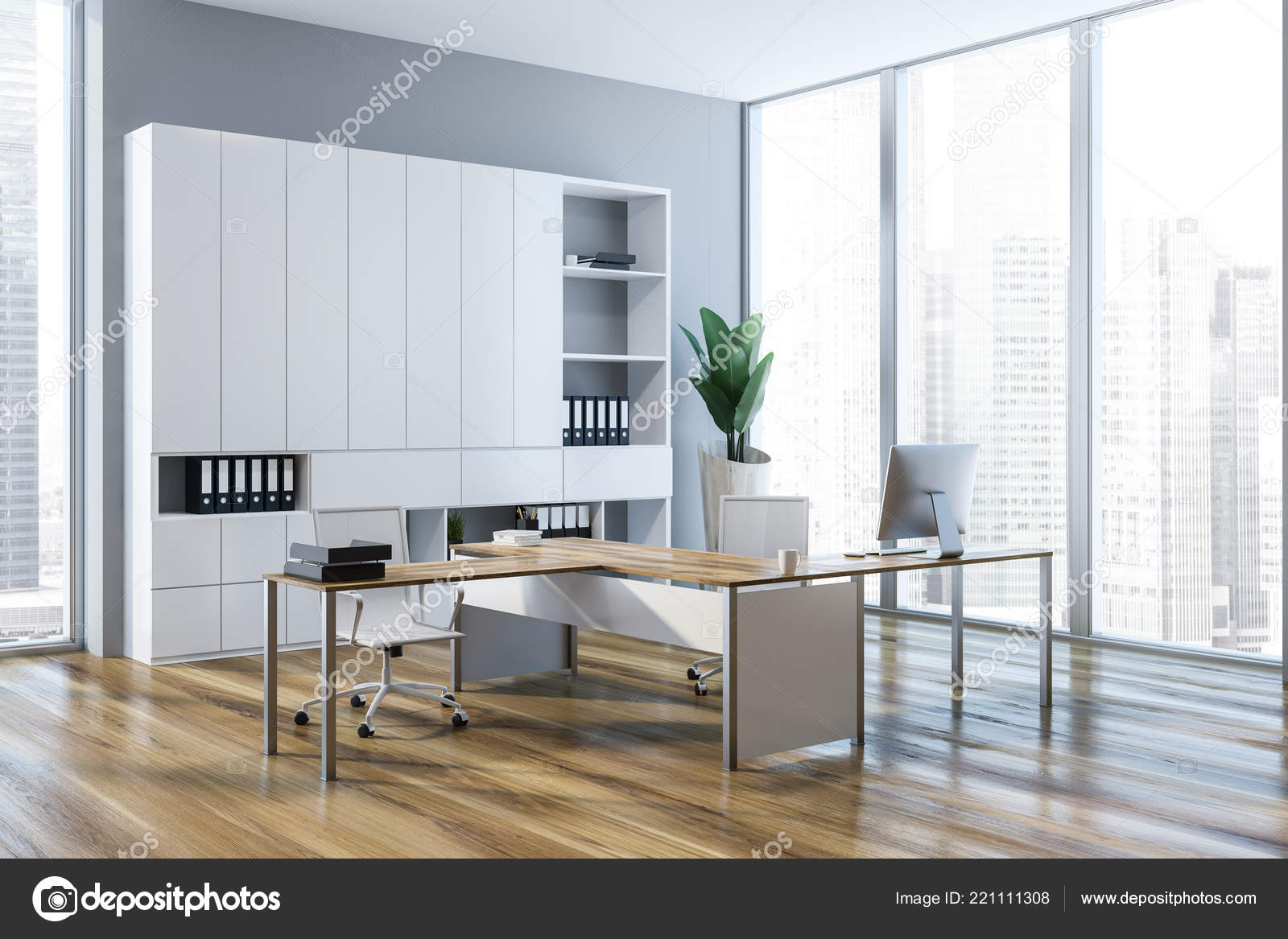 Light Wood Floors Gray Walls Light Gray Walls Ceo Office Interior Wooden Floor Loft Windows