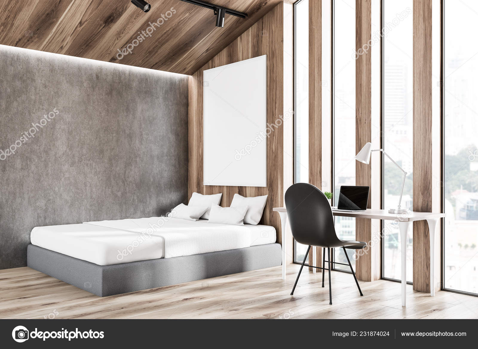Light Wood Floors Gray Walls Corner Attic Bedroom Light Wooden Concrete Walls Wooden Floor Gray