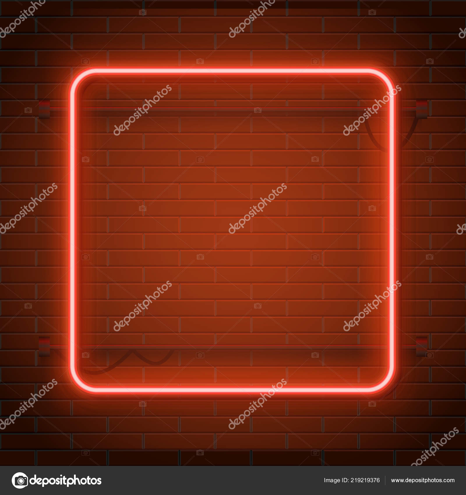 Neon Lamp Neon Lamp Casino Rectangel Frame On Brick Wall Background Las