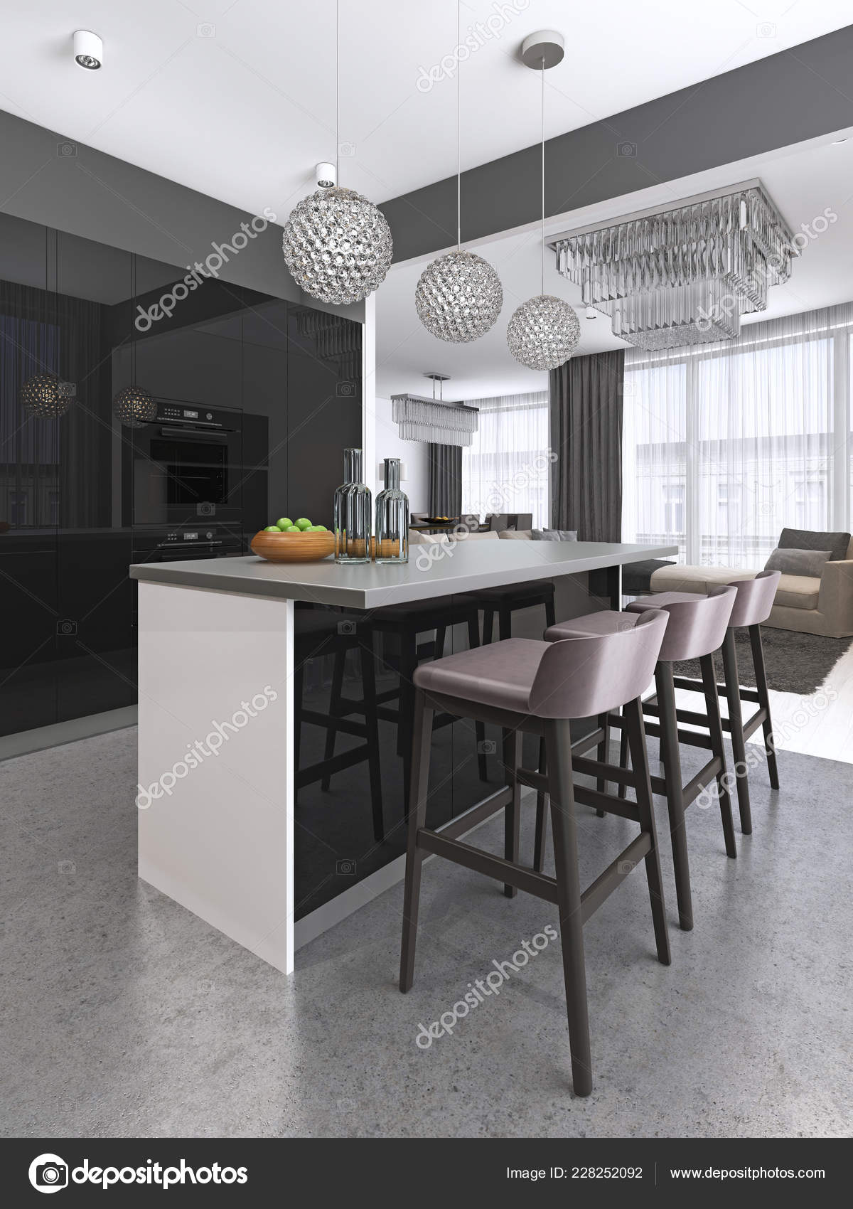 Stools Kitchen Islands Kitchen Island Three Bar Stools Glass Chandeliers Contemporary