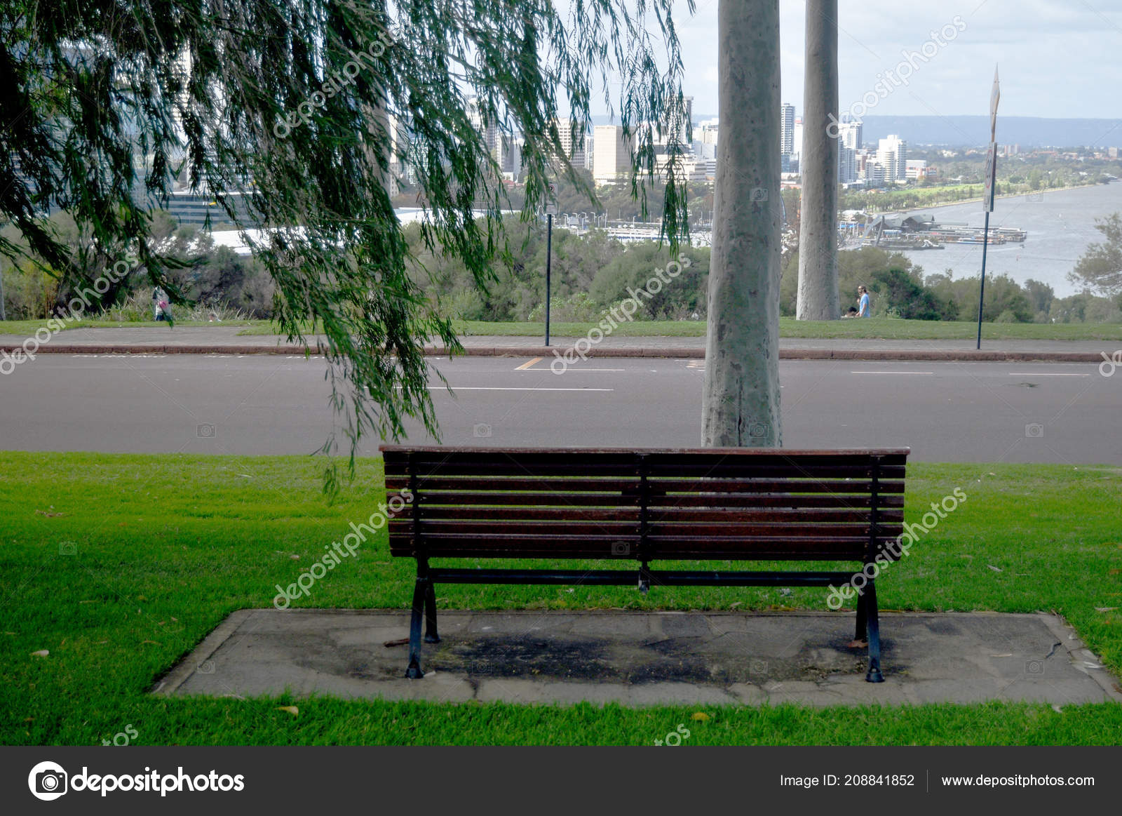 Garden Bench Australia Wooden Bench Garden Viewpoint Cityscape Perth City Kings Park