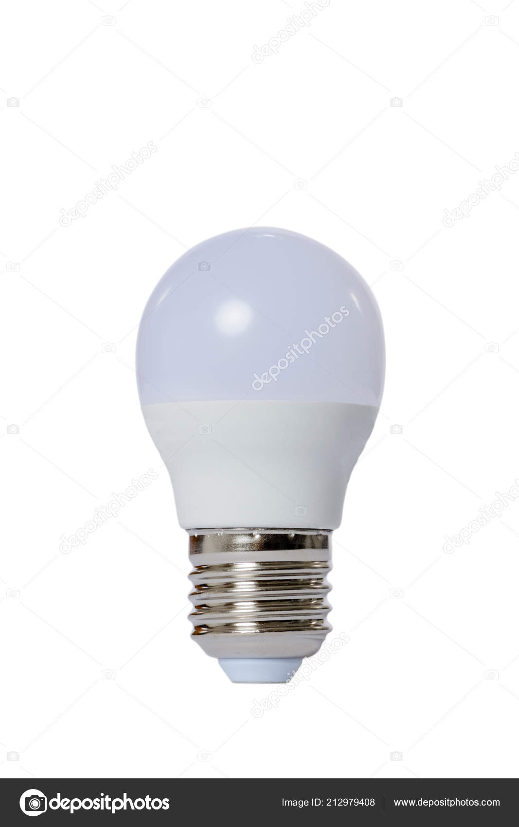 E27 Sockel Led Lamp Opaque Glass Bulb E27 Socket White Background Stock