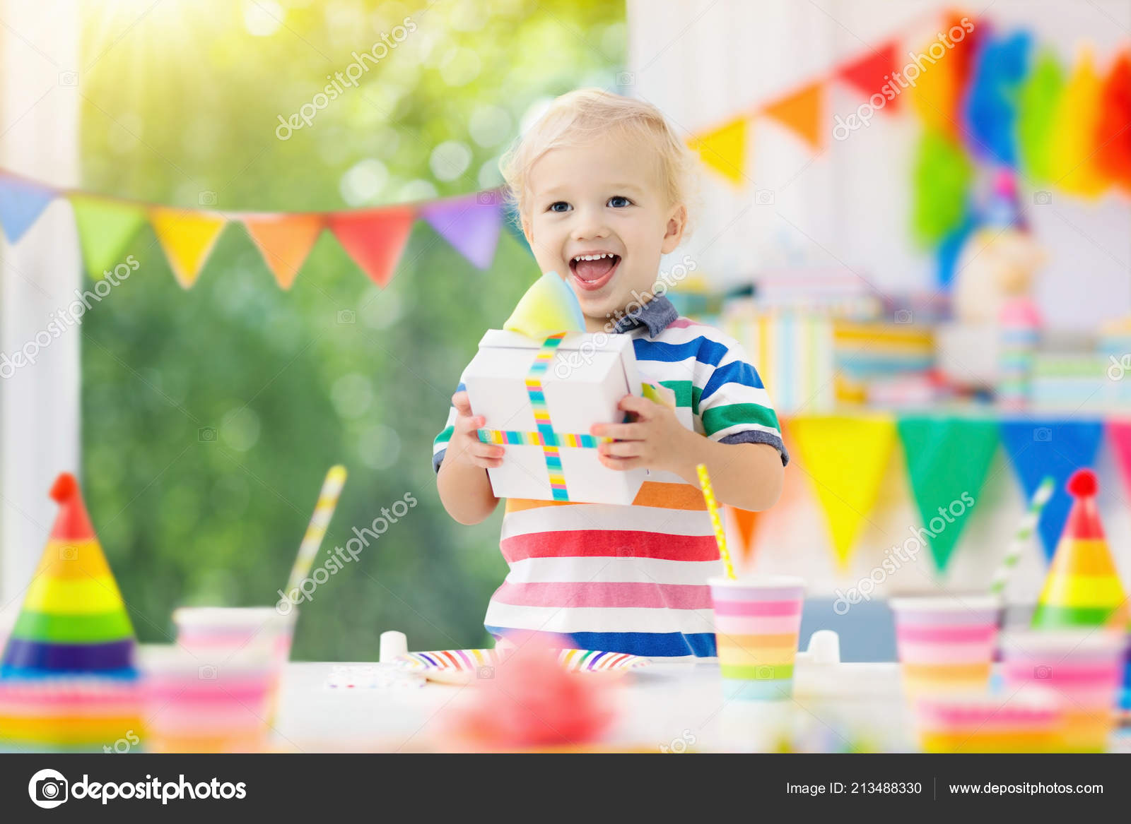 Little Kid Birthday Party Kids Birthday Party Child Blowing Out Candles Colorful Cake