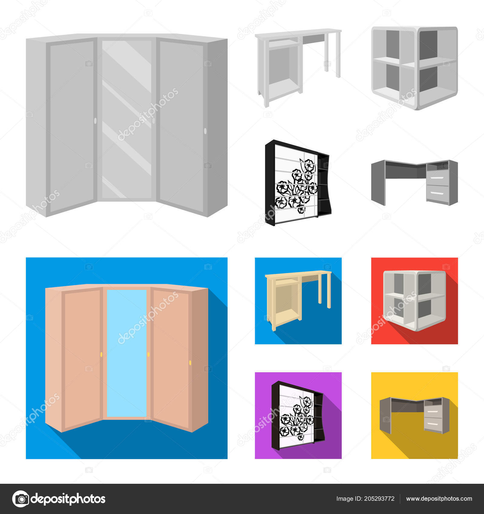 Dressing Table Corner Shelves Computer Desk Wardrobe With Glass Bedroom Furniture Set Collection Icons In Monochrome Flat Style Vector Symbol Stock Illustration Web Vector Image By Pandavector Vector Stock 205293772