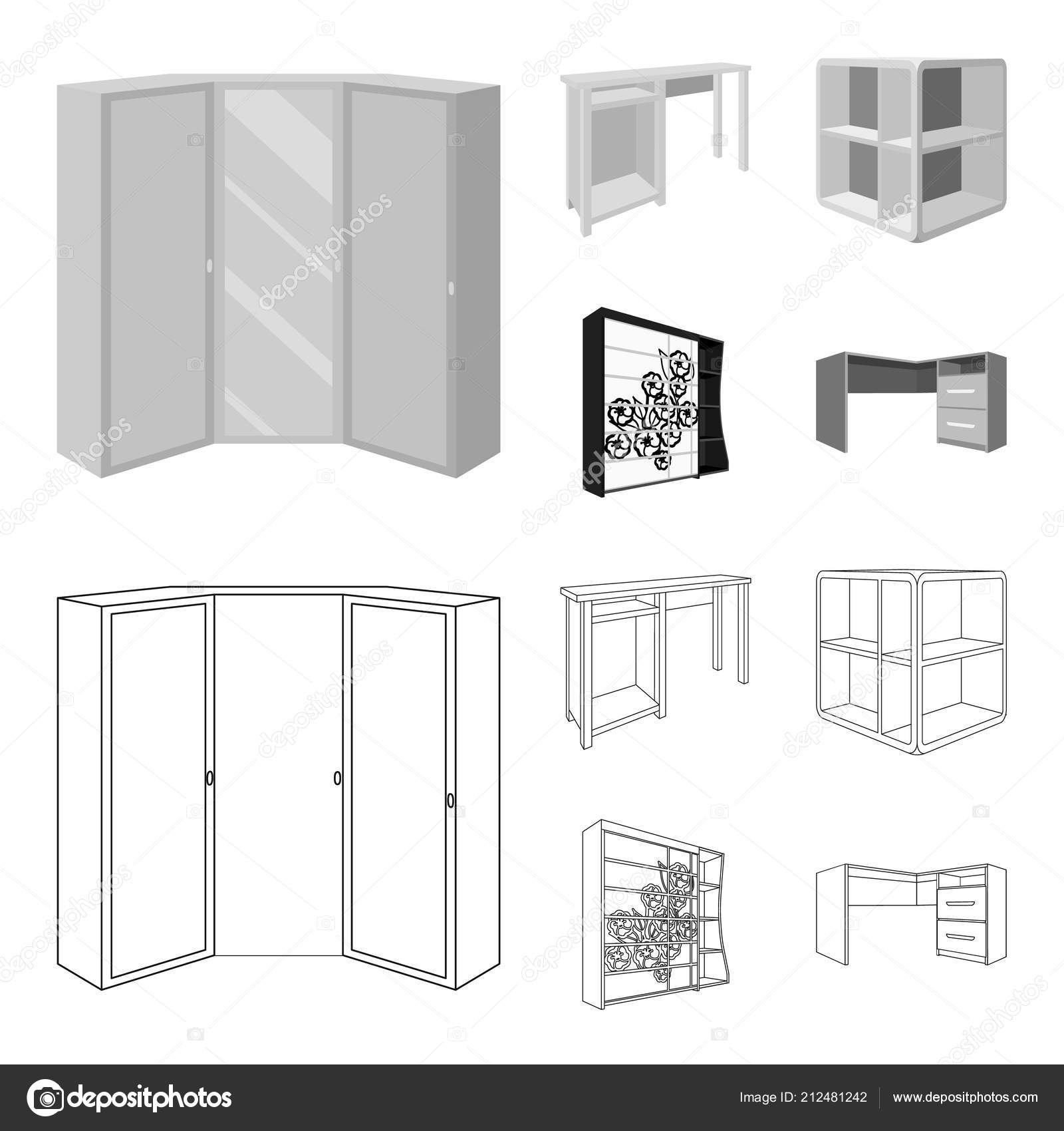 Dressing Table Corner Shelves Computer Desk Wardrobe With Glass Bedroom Furniture Set Collection Icons In Outline Monochrome Style Vector Symbol Stock Illustration Web Vector Image By Pandavector Vector Stock 212481242