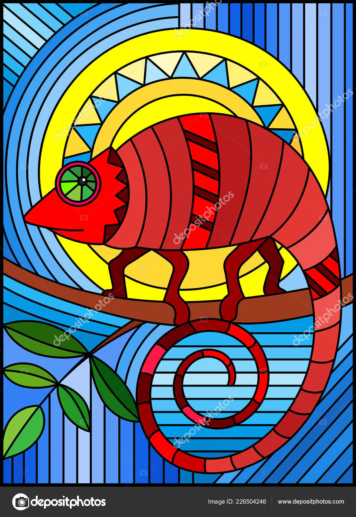 Chameleon Style Illustration Stained Glass Style Abstract Geometric Red Chameleon