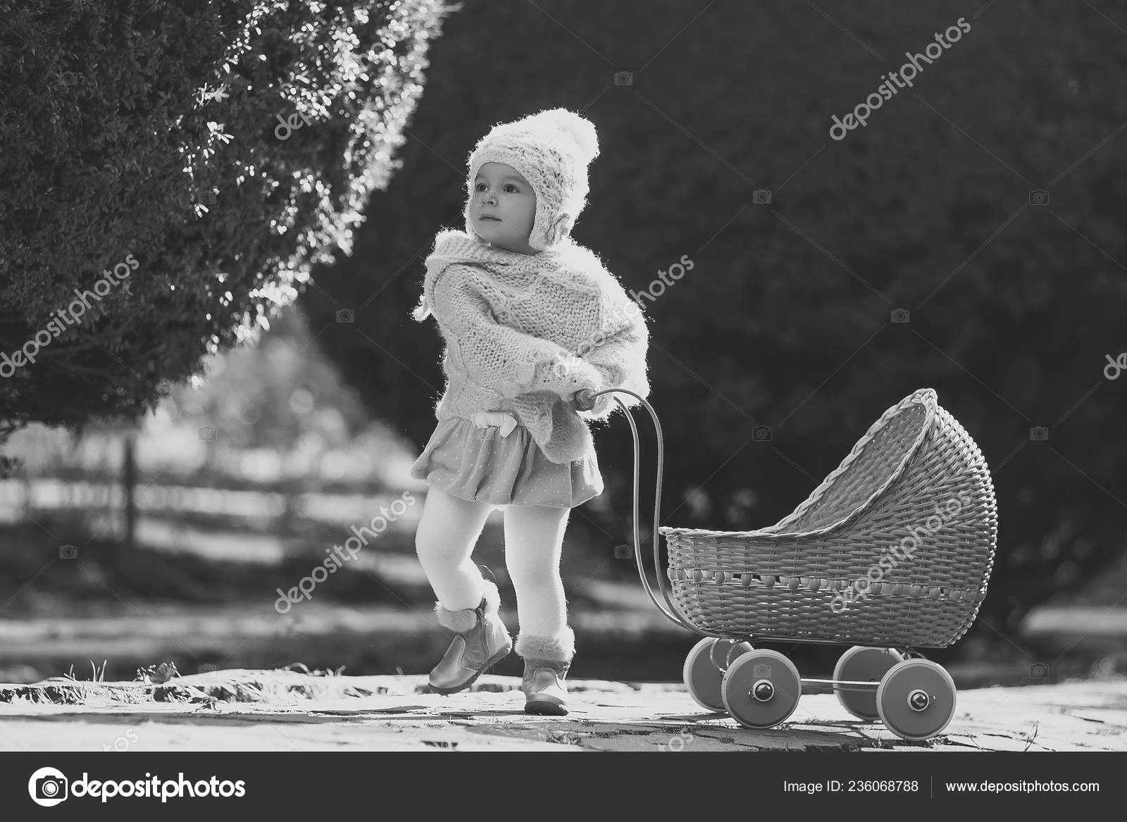 Vintage Toy Stroller Girl Walking With Vintage Doll Stroller On Sunny Day Stock