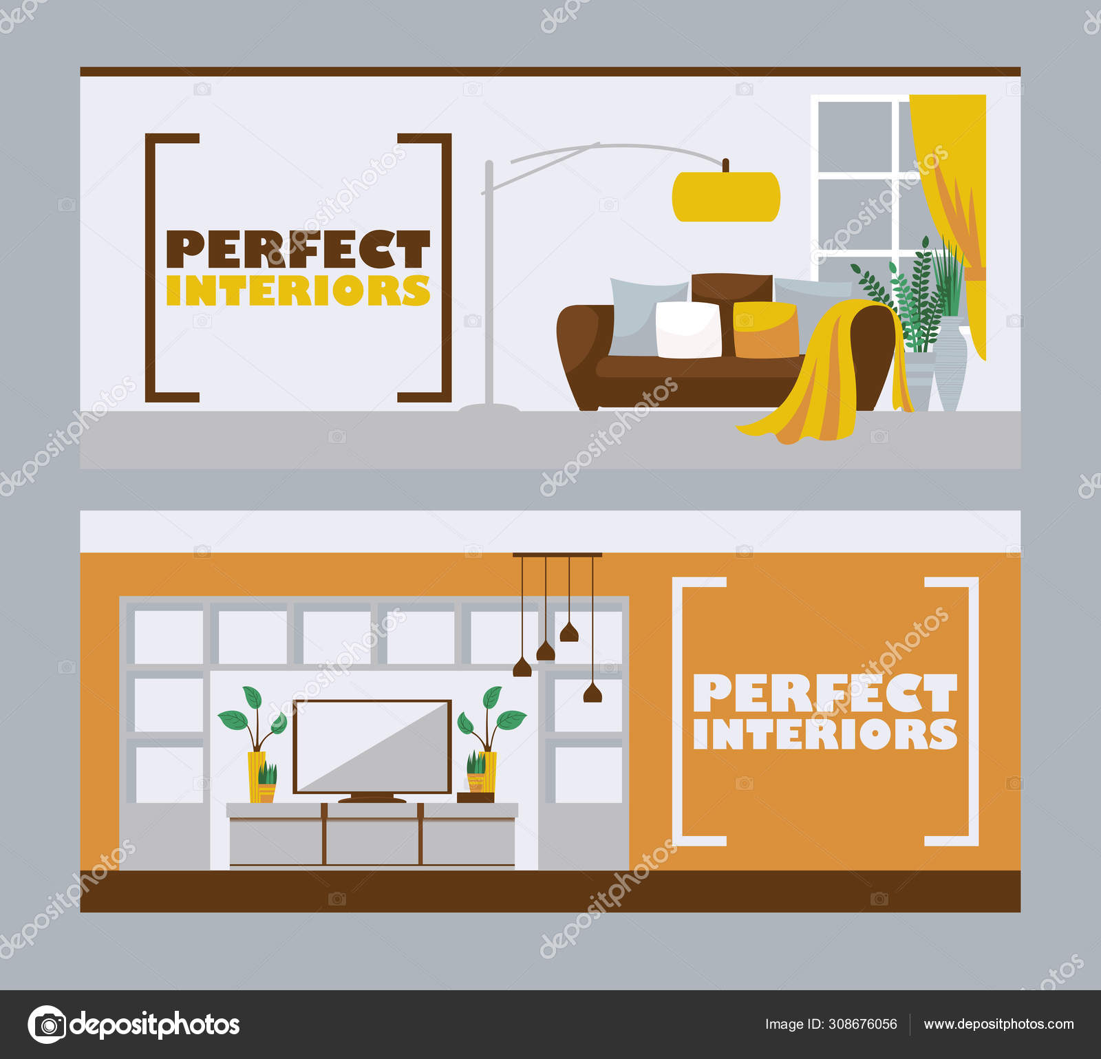 Interior Design Banners Vector Illustration Furniture Store Advertisement Header In Flat Style With Space For Text Living Room Interior Modern Apartment Design Vector Image By Adekvat Vector Stock 308676056