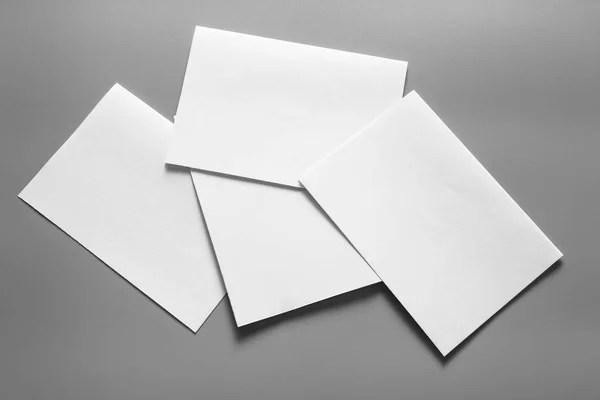 Blank Portrait Mock Paper Brochure Magazine Isolated Gray Changeable