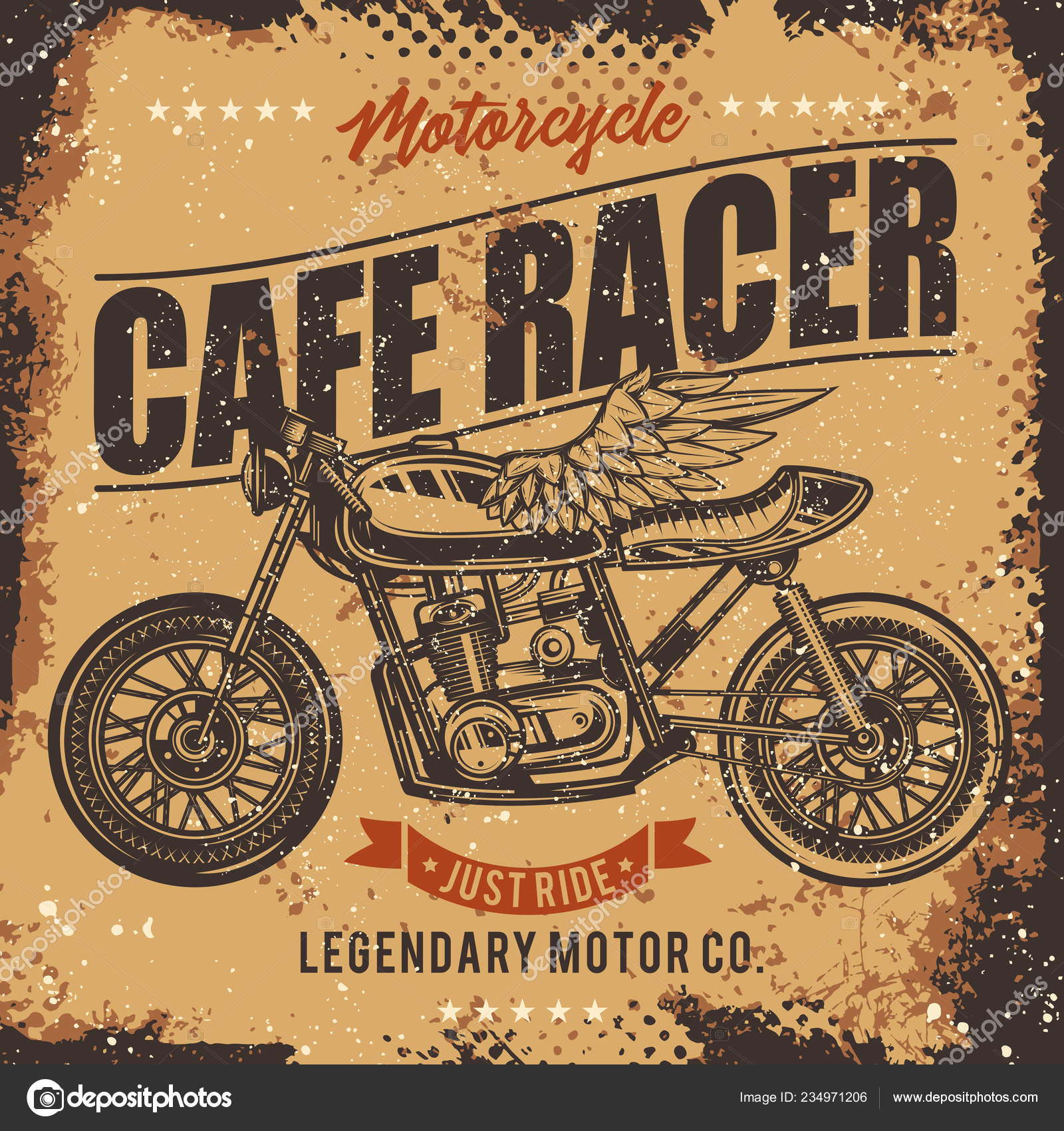 Vintage Café Vintage Cafe Racer Motorcycle Poster Vector Illustration Shirt