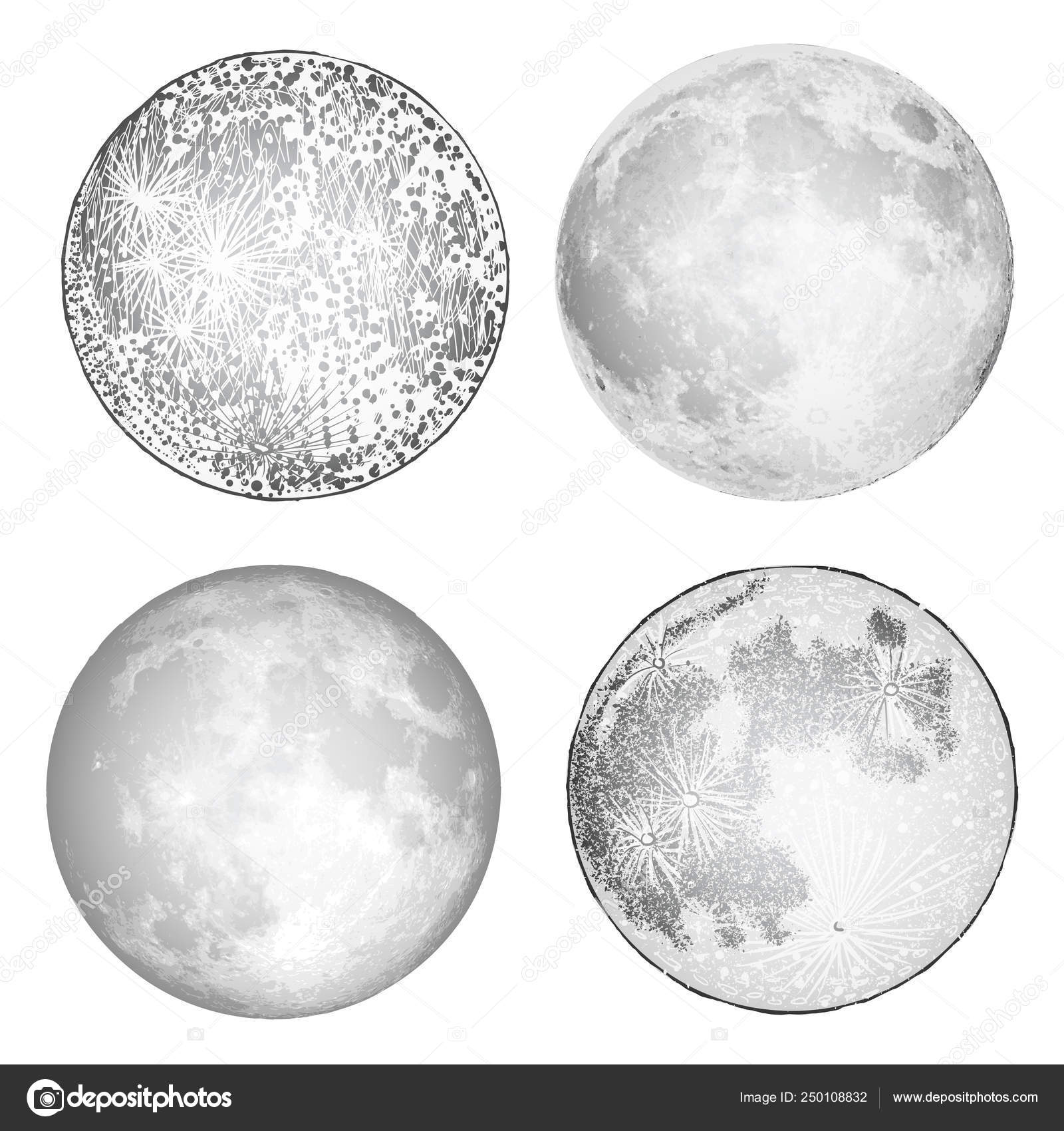 Full Moon Drawing Black And White Set Of Realistic Full Moon And Moon Stipple Drawing Vintage Eng