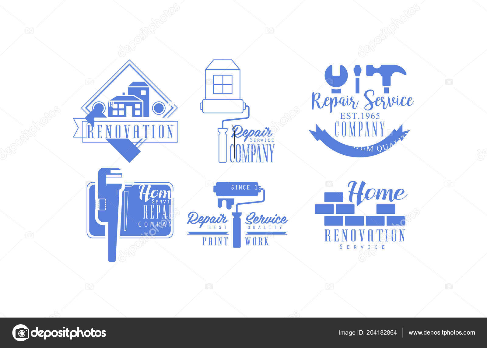 Home Repair Companies Original Blue Logos For Repair Services Monochrome Emblems For