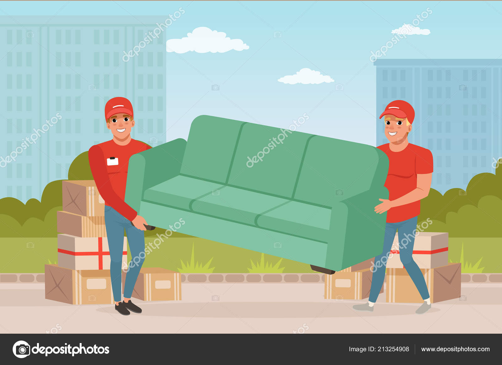 Sofa Bed Express Delivery Strong Guys Carrying Sofa Cartoon Couriers Characters Express
