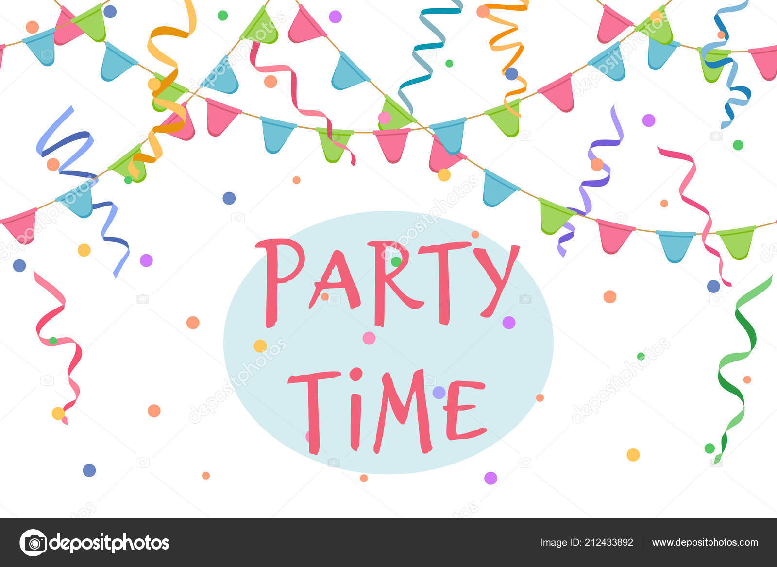 Party Time Party Time Sign Serpentine Background Confetti Flags Cheerful
