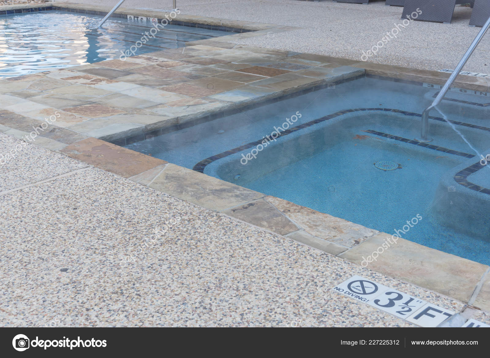 Jacuzzi With Swimming Pool Swimming Pool Jacuzzi Tubs Handrail Depth Signs Apartment Building