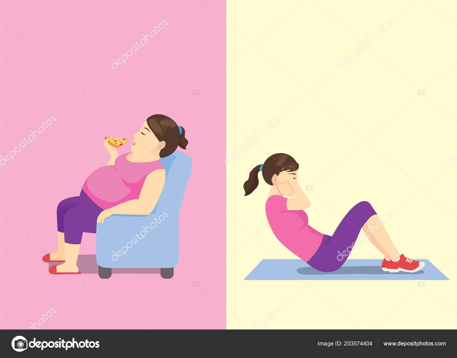 Sofa Workout Fat Woman Eating Pizza Sofa Slim Woman Doing Sit Workout Stock