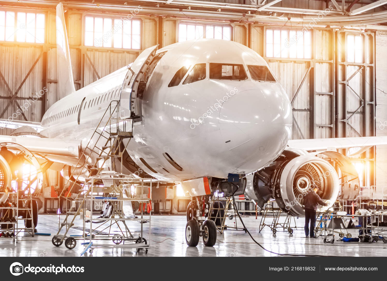Airplane Maintenance Passenger Commercial Airplane Maintenance Engine Turbo Jet