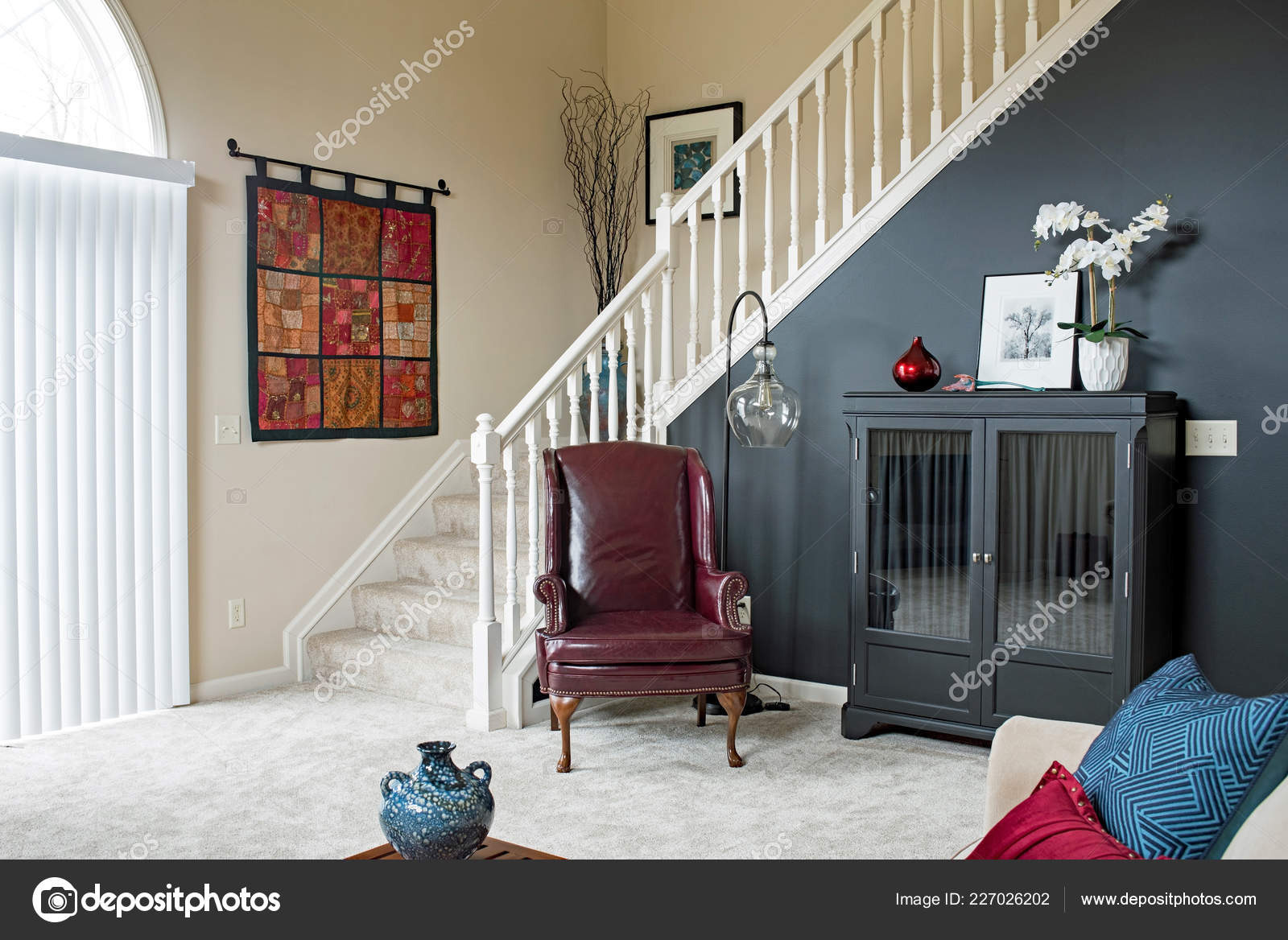 Black Accent Walls Living Room Staircase Black Accent Wall Stock Photo Lawcain