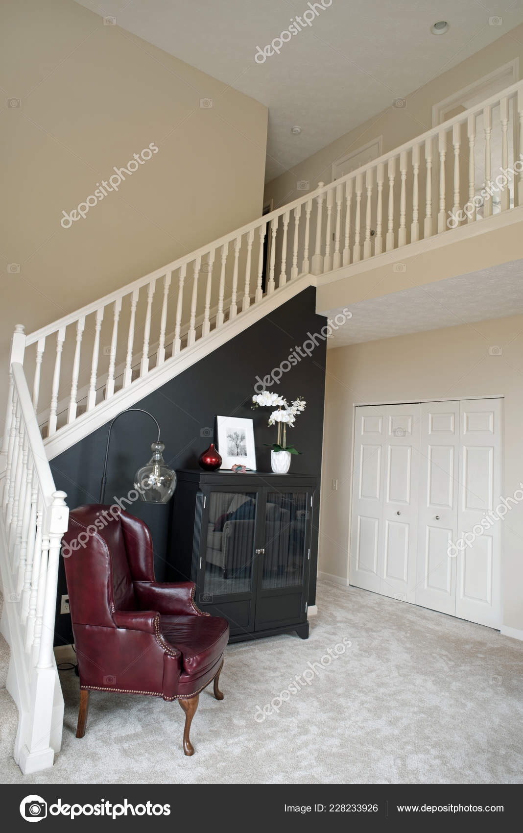 Black Accent Walls Condo Stairway Black Accent Wall Stock Photo Lawcain 228233926