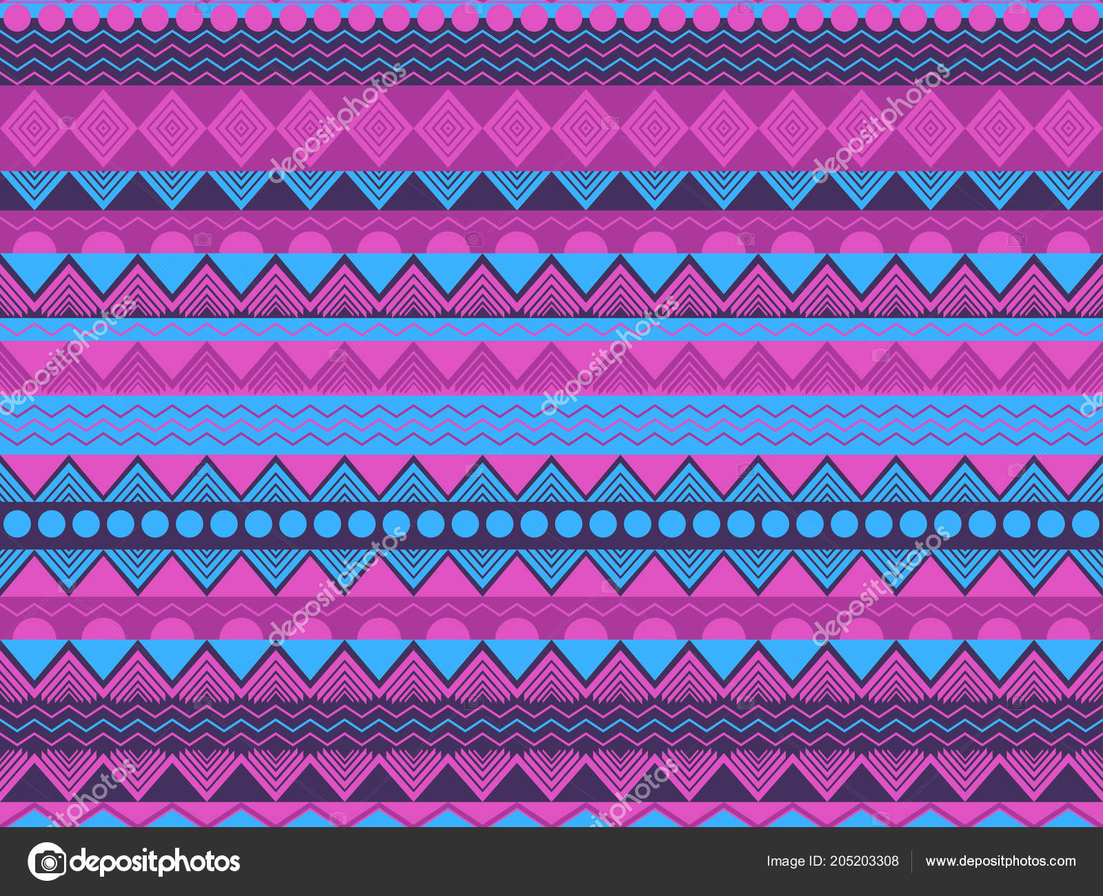 Ethnic Seamless Pattern Violet Blue Color Tribal Textiles Hippie Style Stock Vector Andyvinnikov 205203308