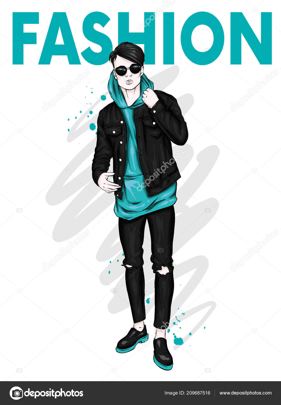 Stylish Clothes Handsome Guy Stylish Clothes Hipster Vector Illustration Stock