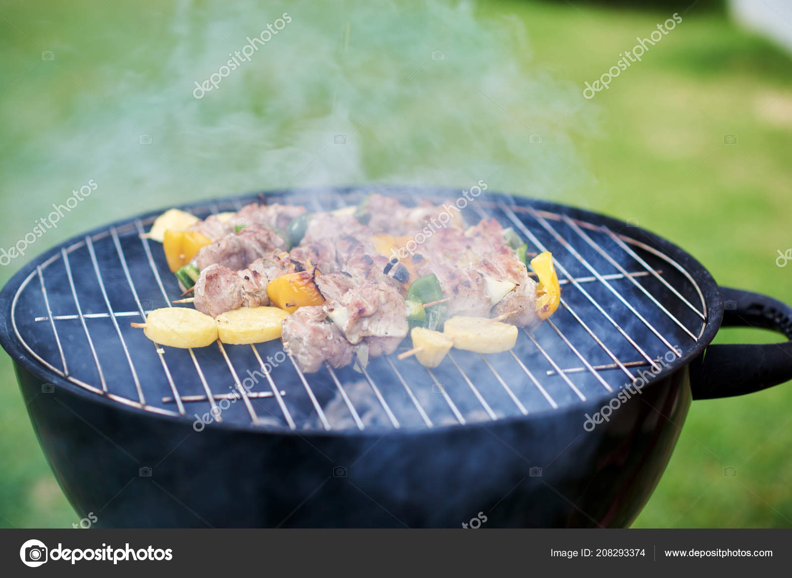 Coal Bbq Bbq Kebab Cooking Coal Grill Meat Skewers Peppers Potatoes