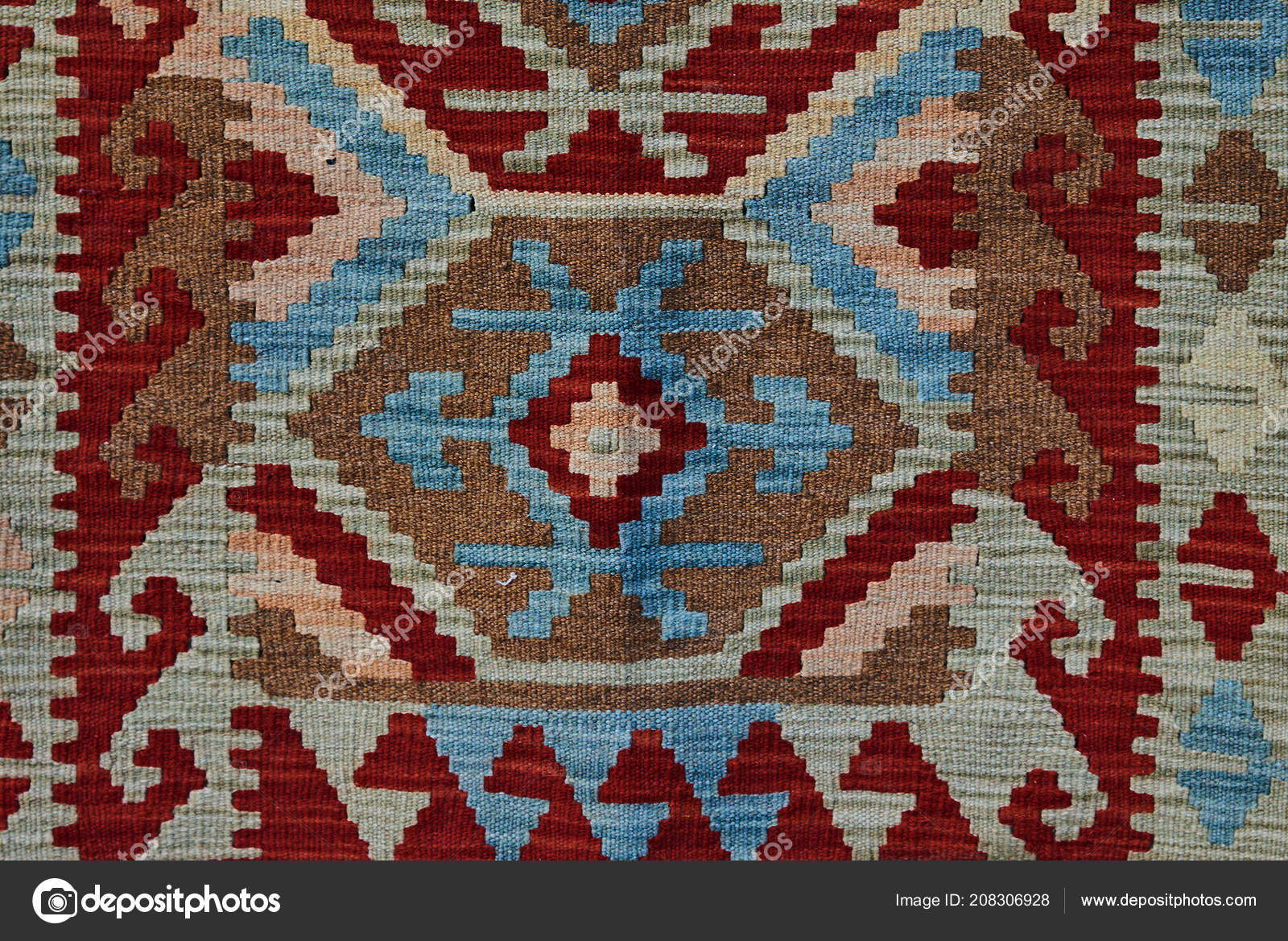 Patterned Carpet Close Geometric Patterned Carpet Hand Woven Rug Red Yellow Blue