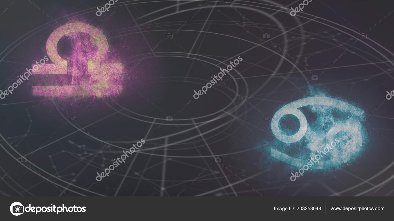 Cancer Libra Libra Cancer Horoscope Signs Compatibility Night Sky Abstract