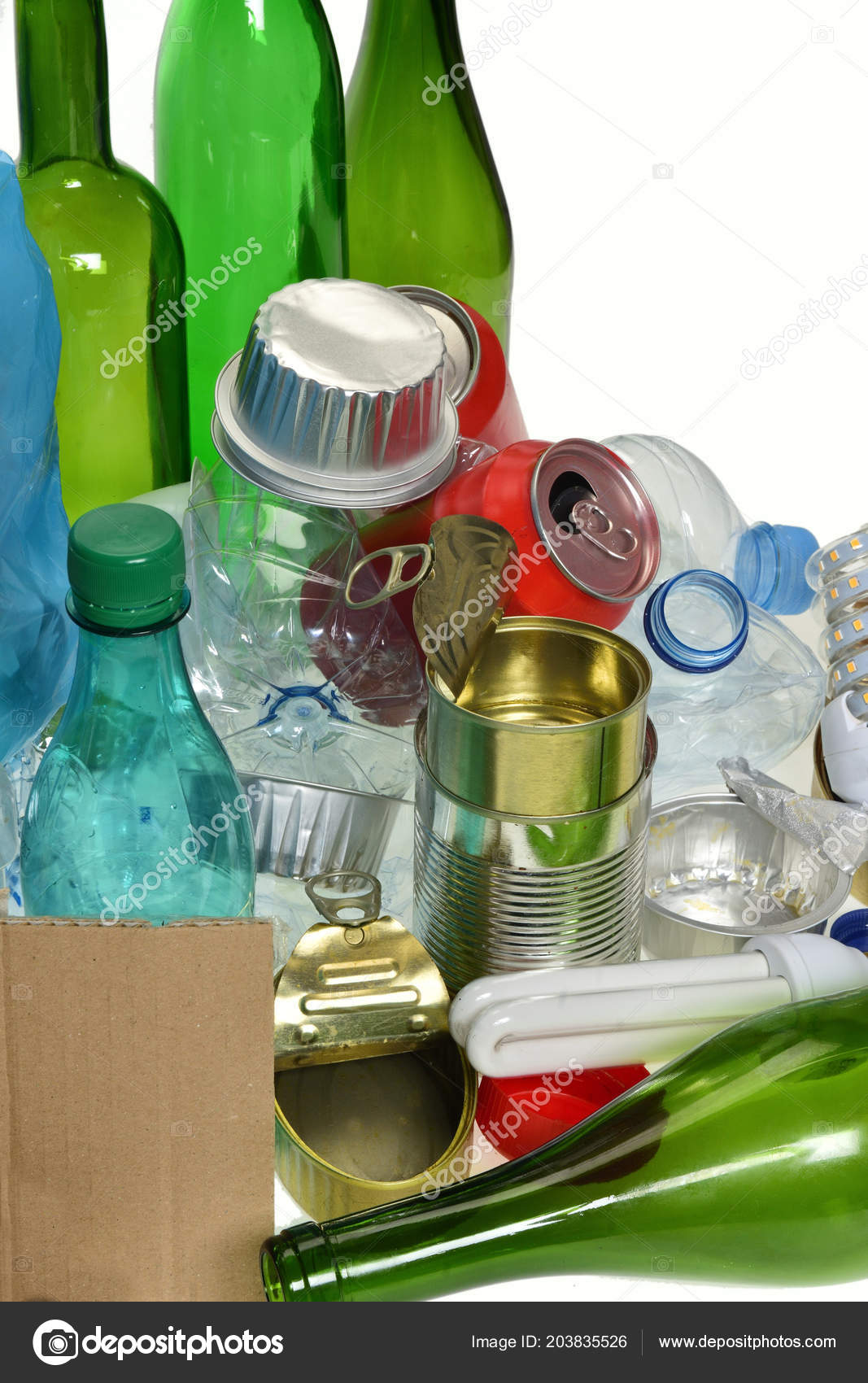 Recycled Plastic Bottle Lamp Recycling Glass Bottles Cans Plastic Bottle Bulb Stock Photo