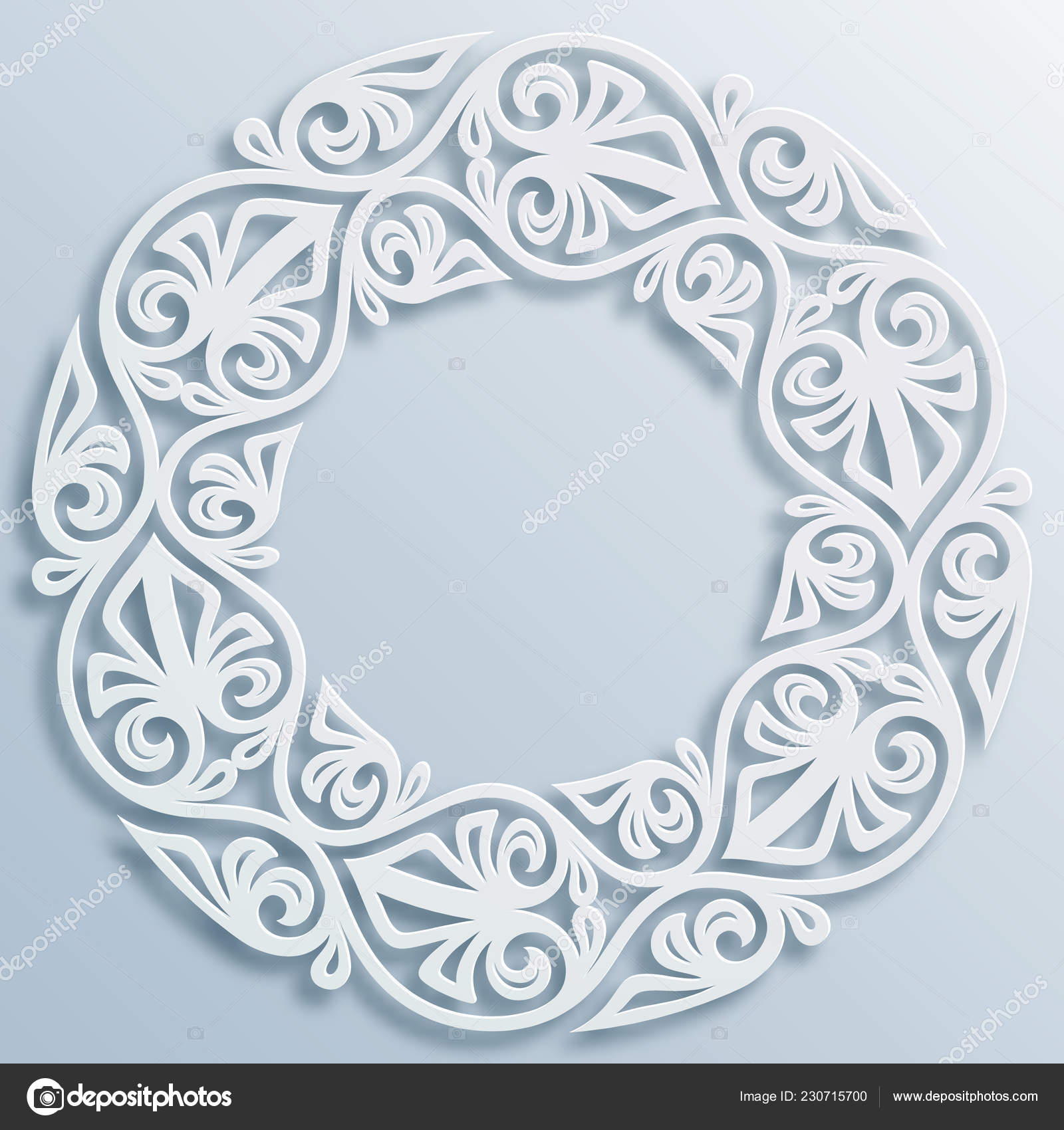 Motif Relief Paper Style Round White Frame Vignette Vector Geometric Border