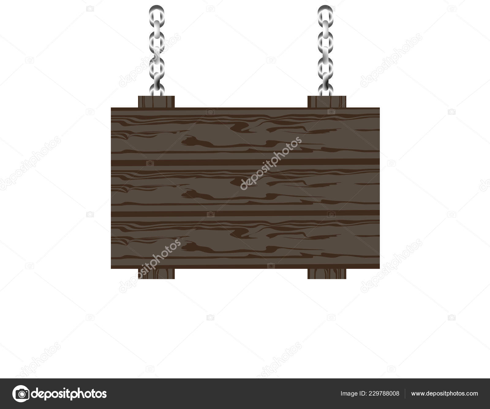Vector Hanging Chains Blank Rustic Wooden Sign Board Hanging Chains Vector Illustration Stock Vector Olga Larionova 11 229788008