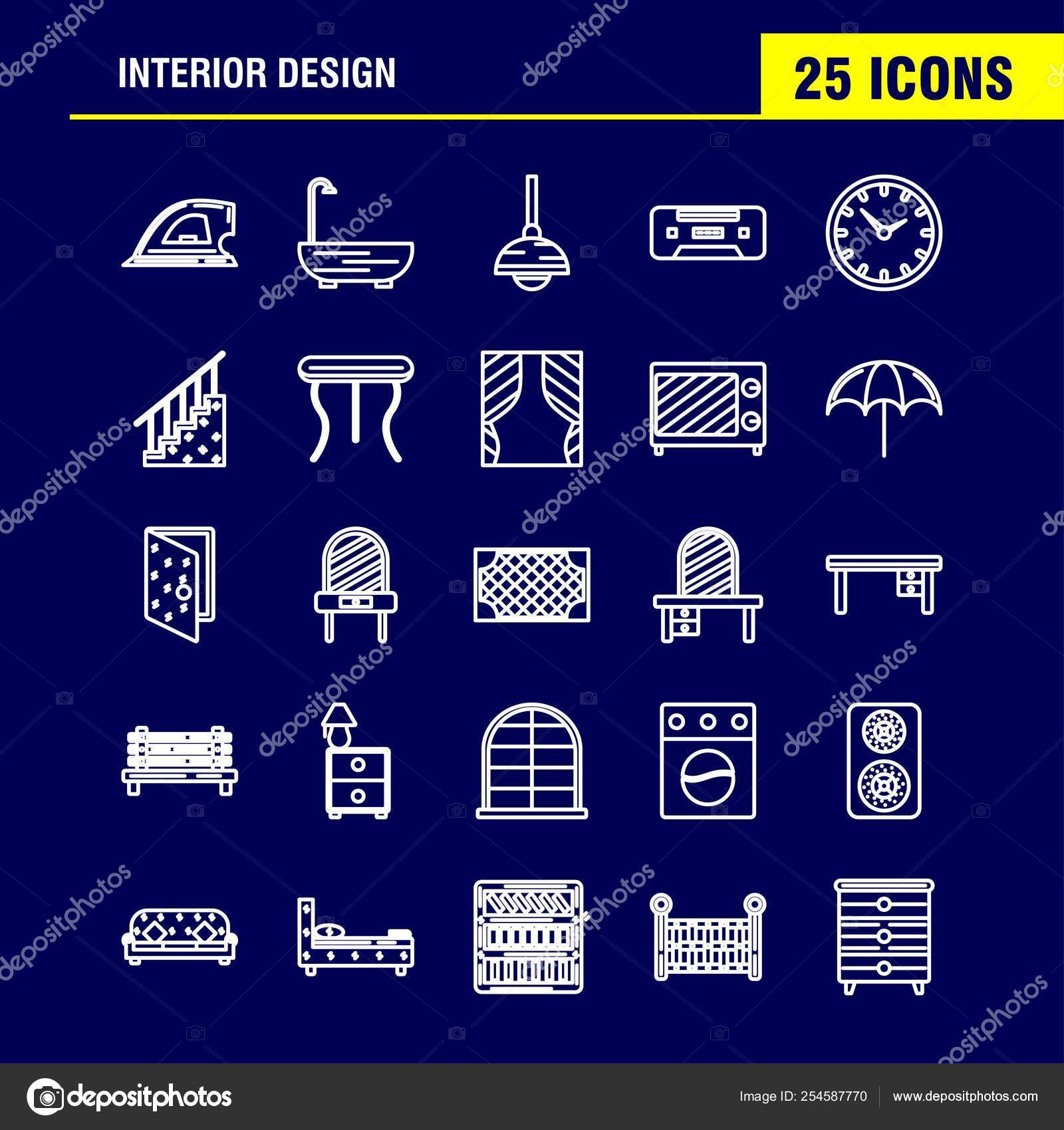 Ux Plug Interior Design Line Icons Set Infographics Mobile Kit Print