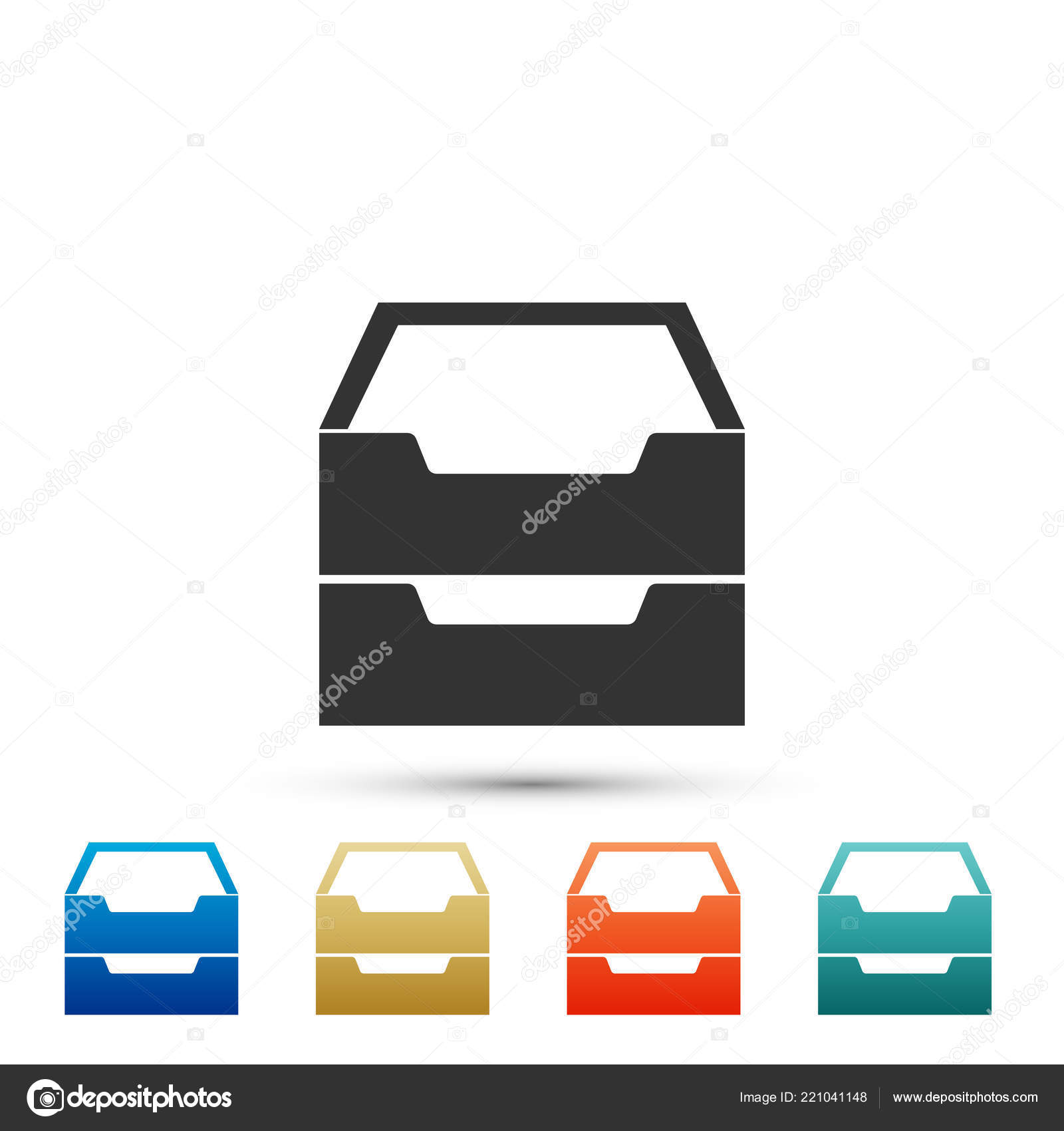 Filing Cabinet Icon Flat Drawer With Documents Icon Isolated On White Background Archive